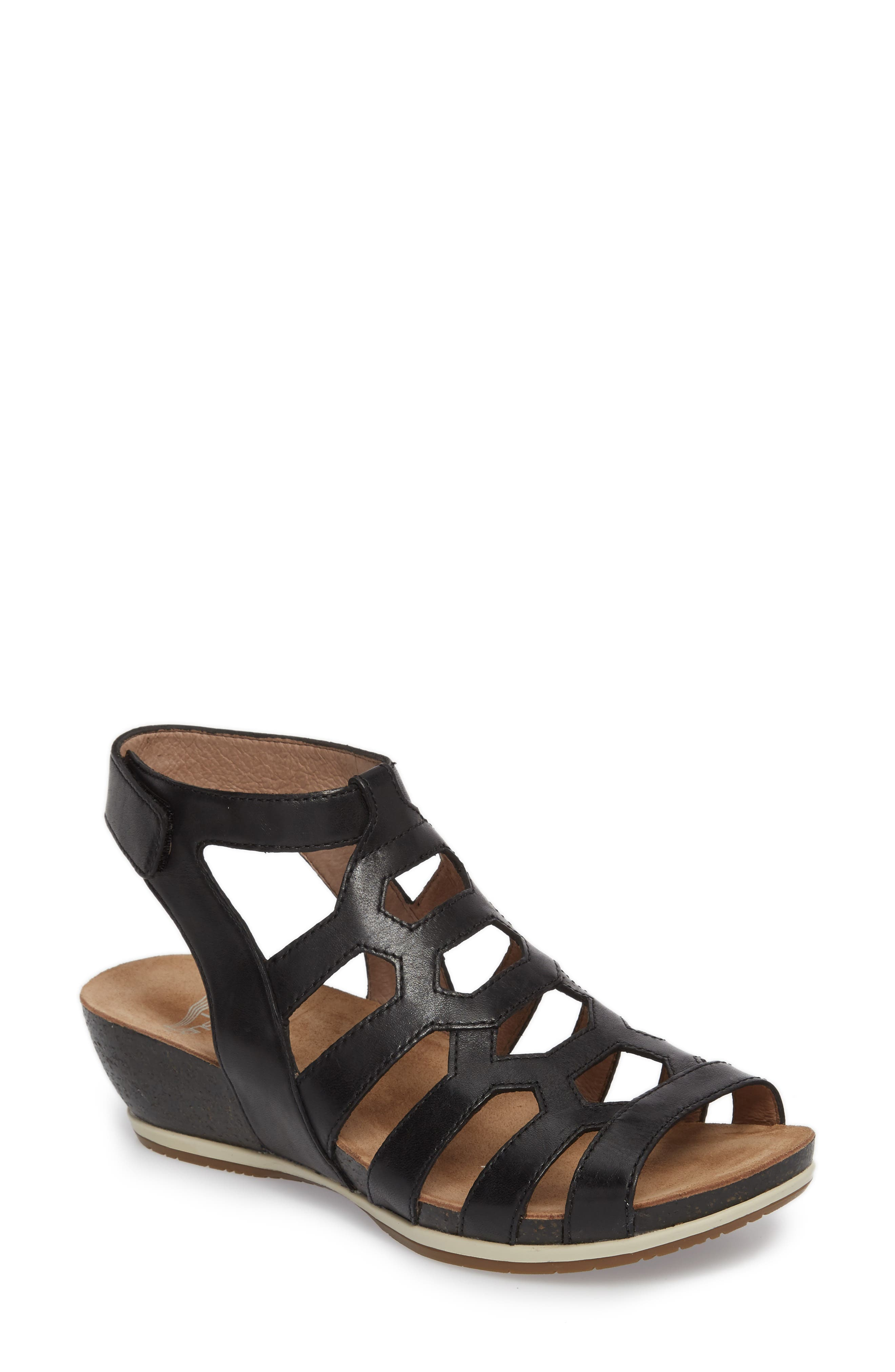 Valentina Caged Wedge Sandal,                             Main thumbnail 1, color,                             001