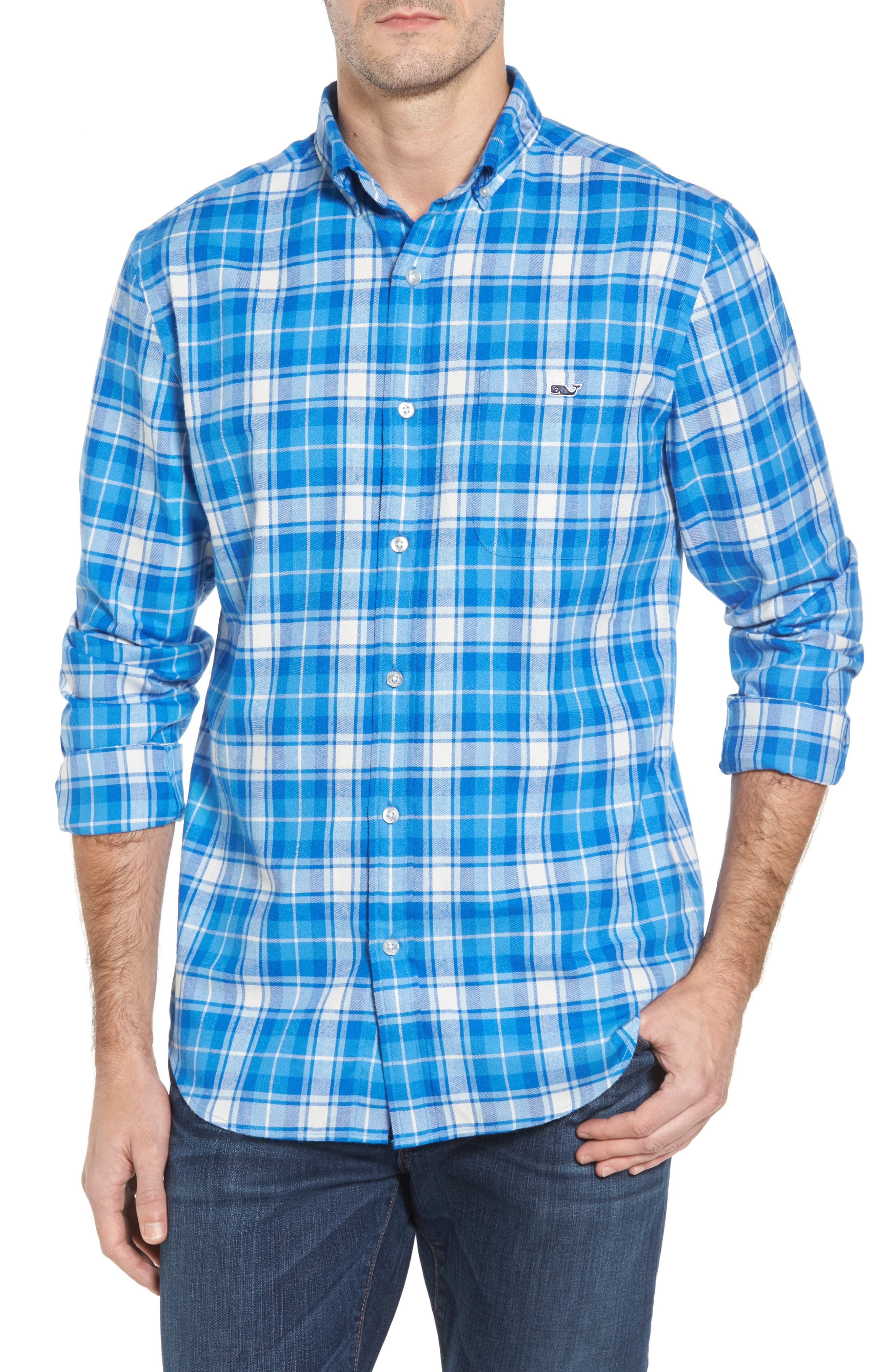 Tucker Lone Point Classic Fit Plaid Sport Shirt,                         Main,                         color, 400