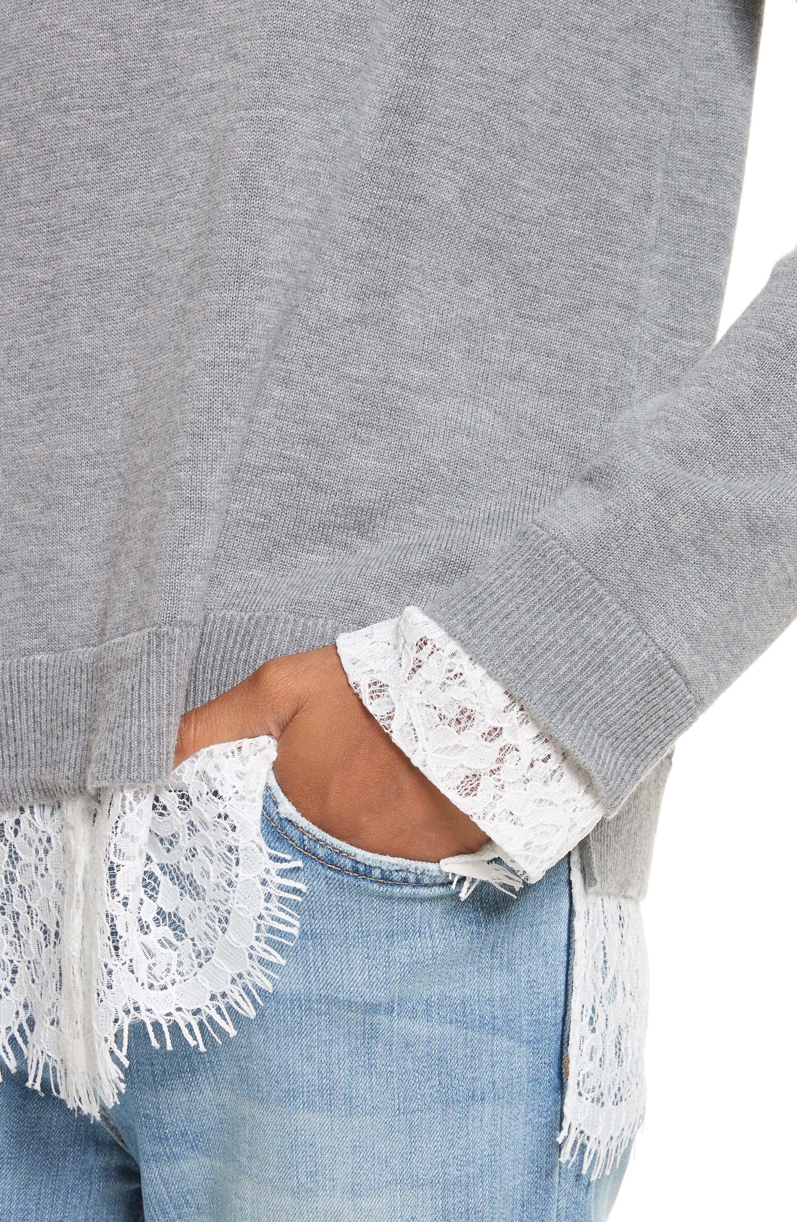 Fredrika Lace Inset Sweater,                             Alternate thumbnail 4, color,                             071