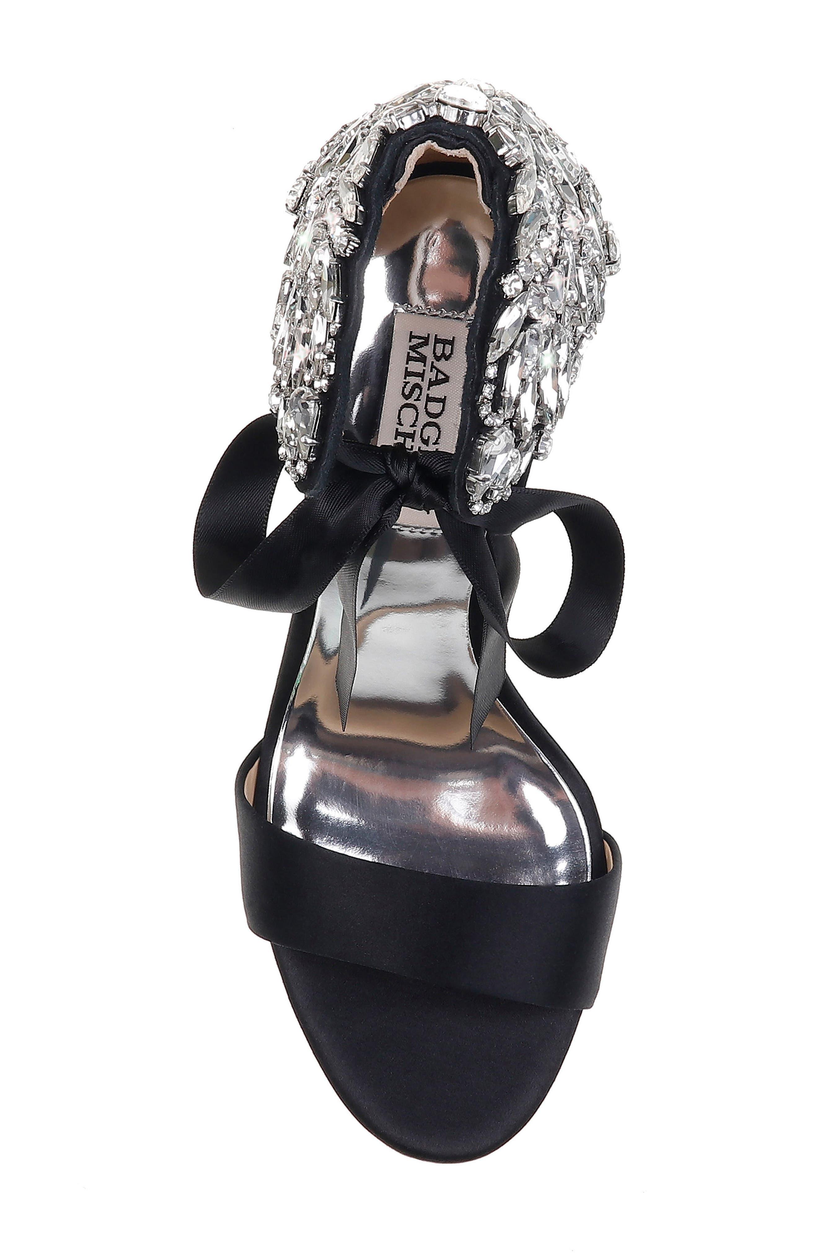 Badgley Mischka Heather Crystal Embellished Wedge,                             Alternate thumbnail 5, color,                             BLACK SATIN