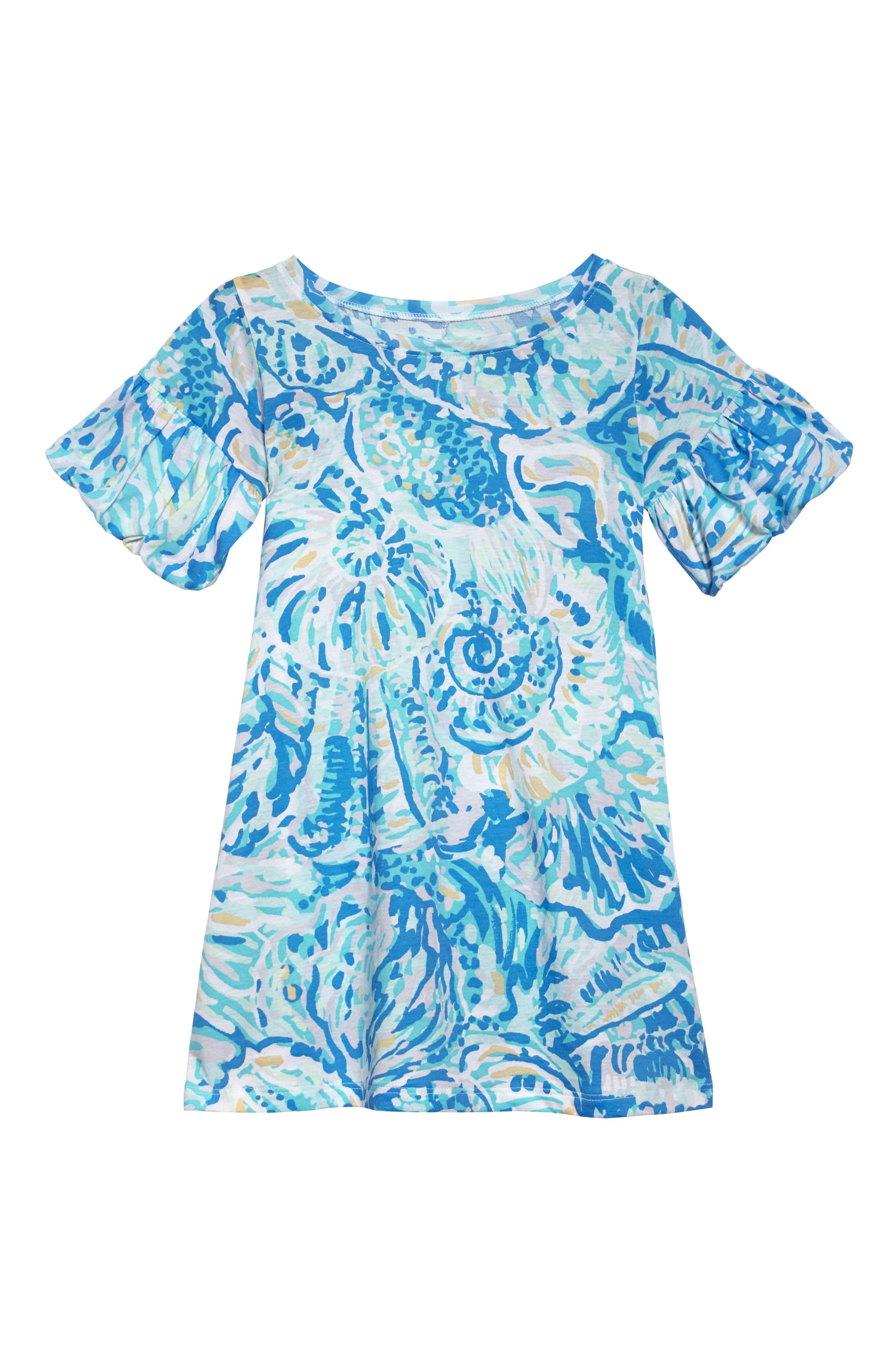 Mini Lindell Ruffle Dress,                         Main,                         color, BENNET BLUE SALTY SEAS