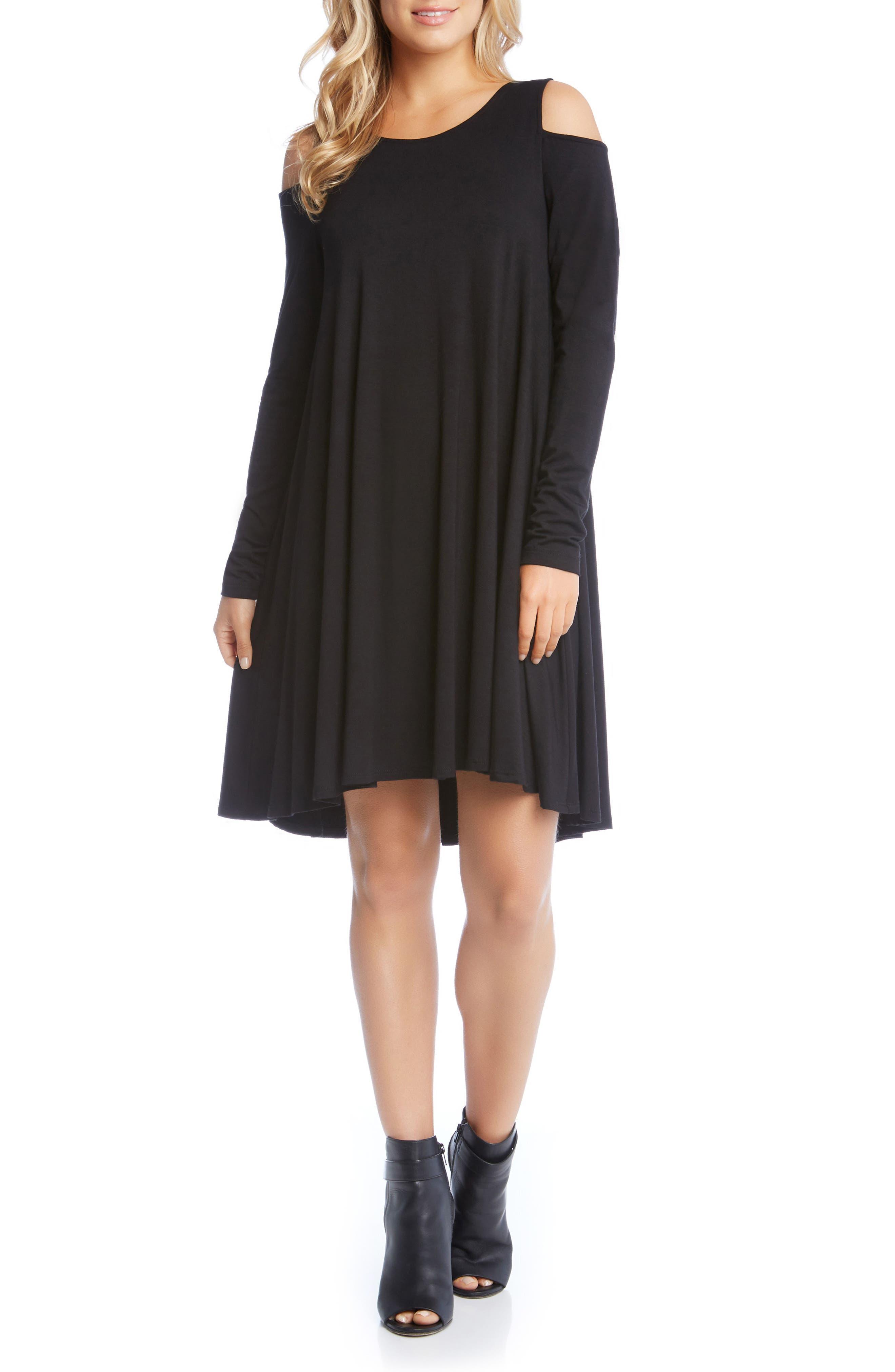 Maggie Cold Shoulder Trapeze Dress,                         Main,                         color, 001