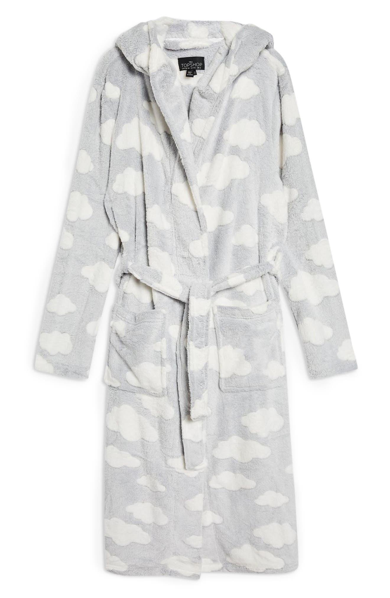 Cloud Print Longline Fleece Robe,                             Alternate thumbnail 3, color,                             020