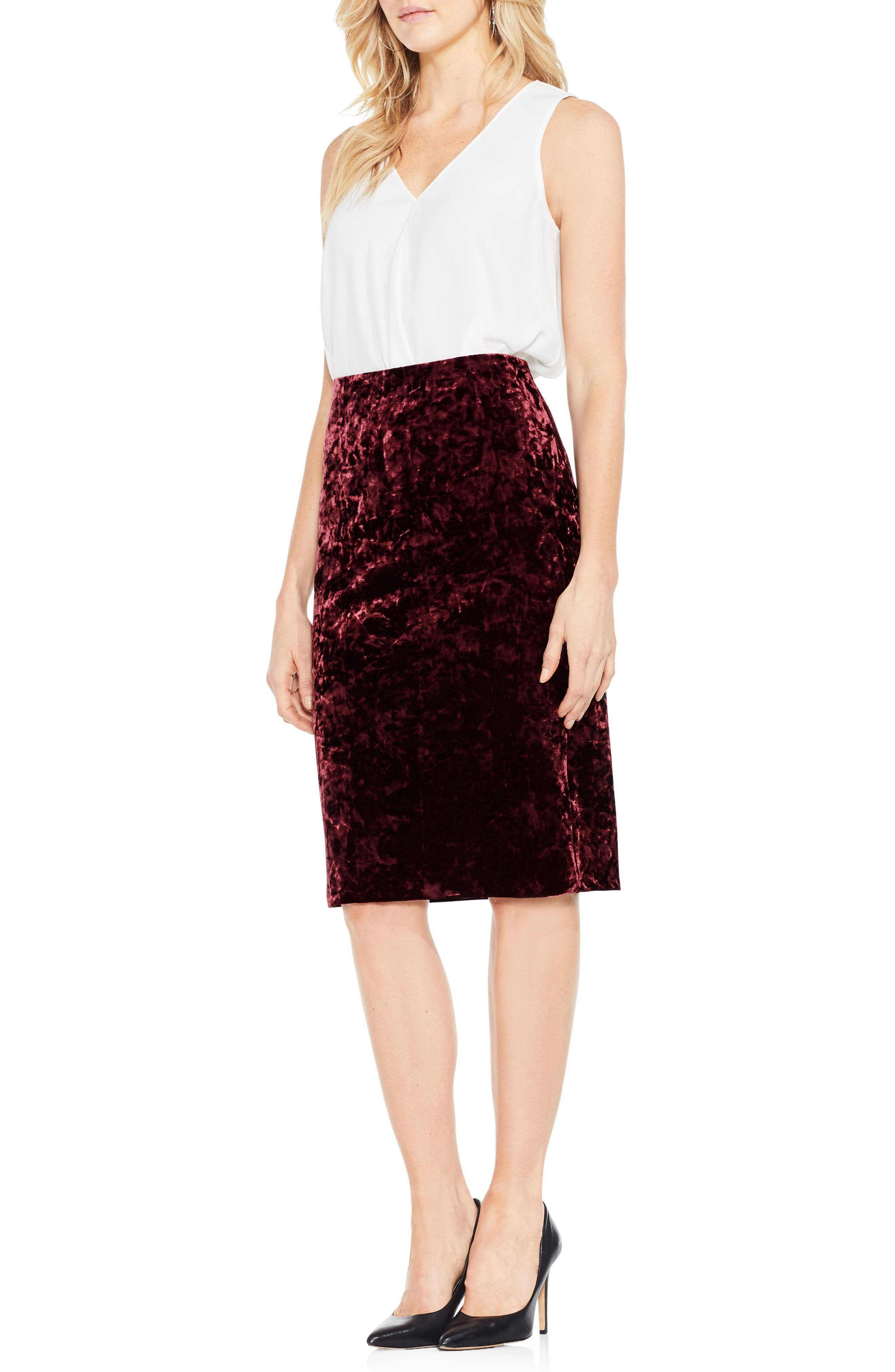 Crushed Velvet Pencil Skirt,                             Alternate thumbnail 3, color,