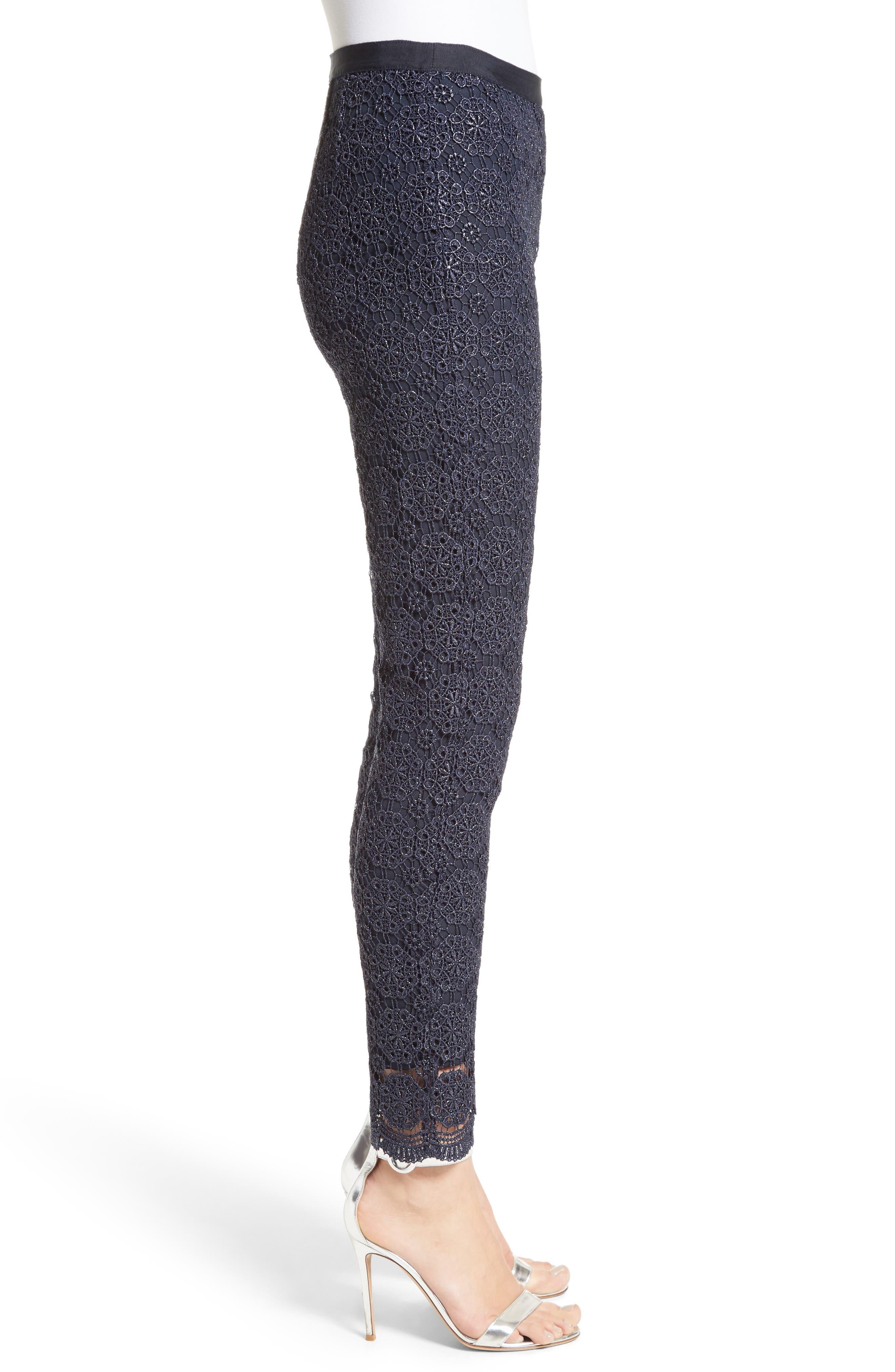 Metallic Guipure Lace Pants,                             Alternate thumbnail 3, color,                             410