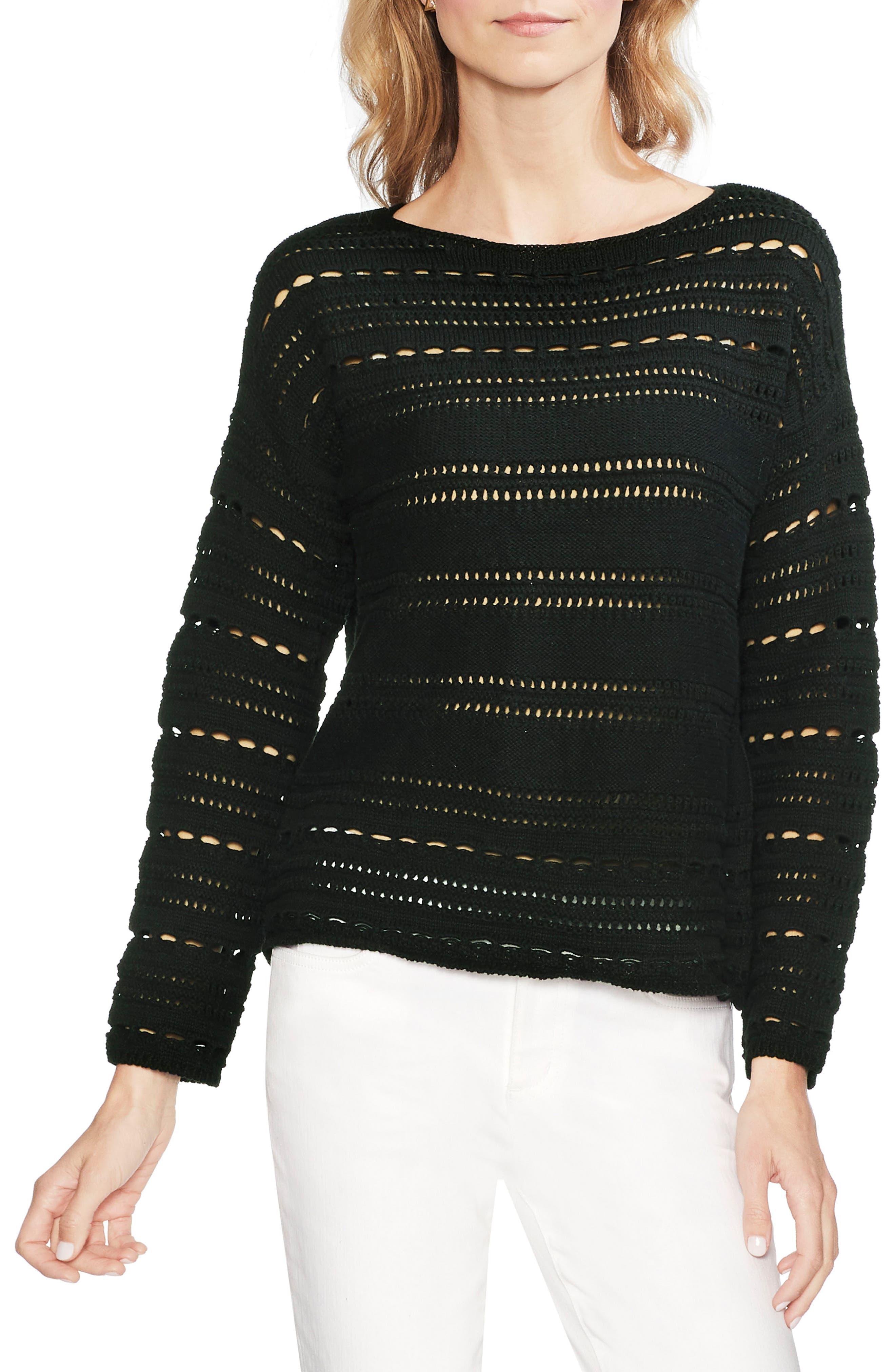 Vince Camuto Open Stitch Cotton Sweater, Black
