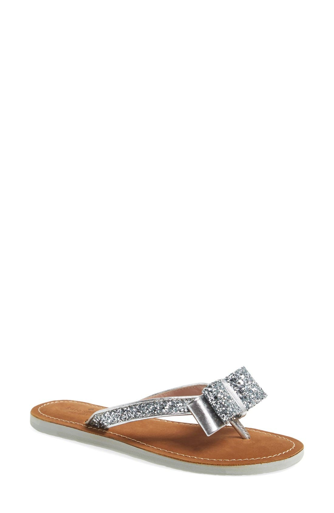 'icarda' glitter flip flop,                         Main,                         color, SILVER