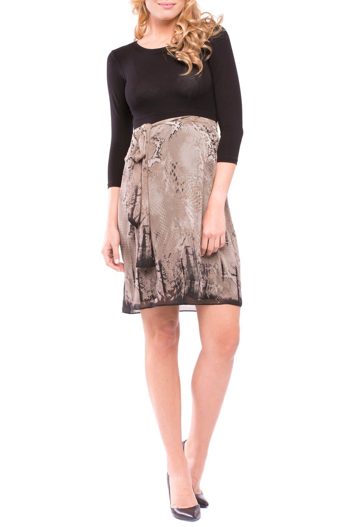 'Jolie' Maternity Dress,                         Main,                         color, TAUPE/ BLACK PYTHON