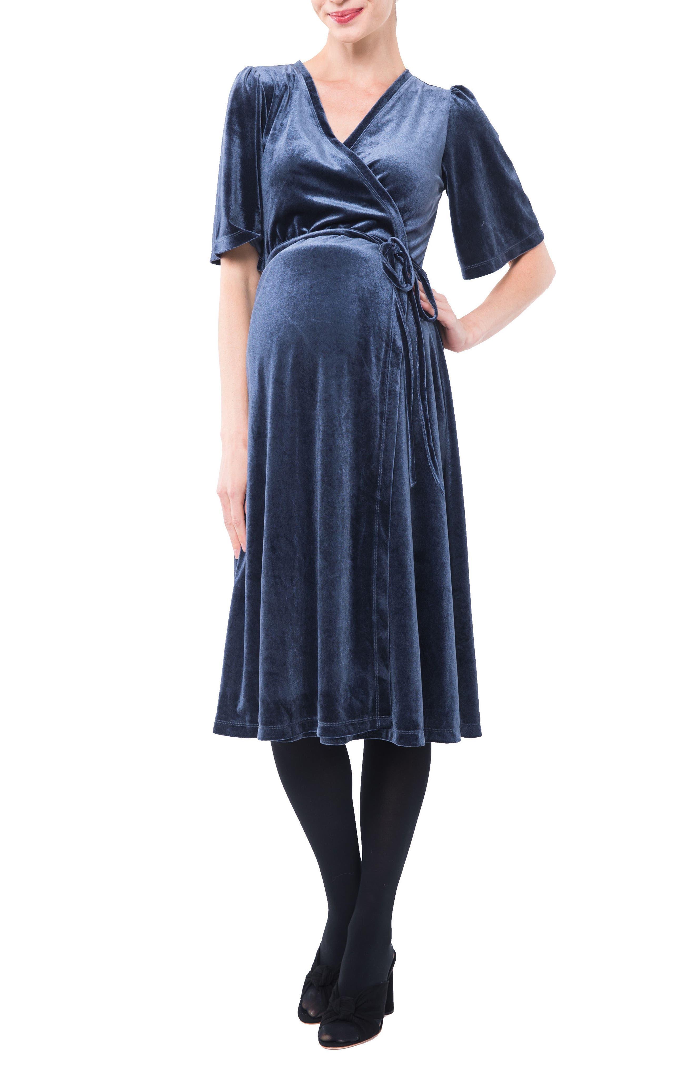 Genevieve Velvet Maternity/Nursing Dress,                             Main thumbnail 1, color,                             SLATE