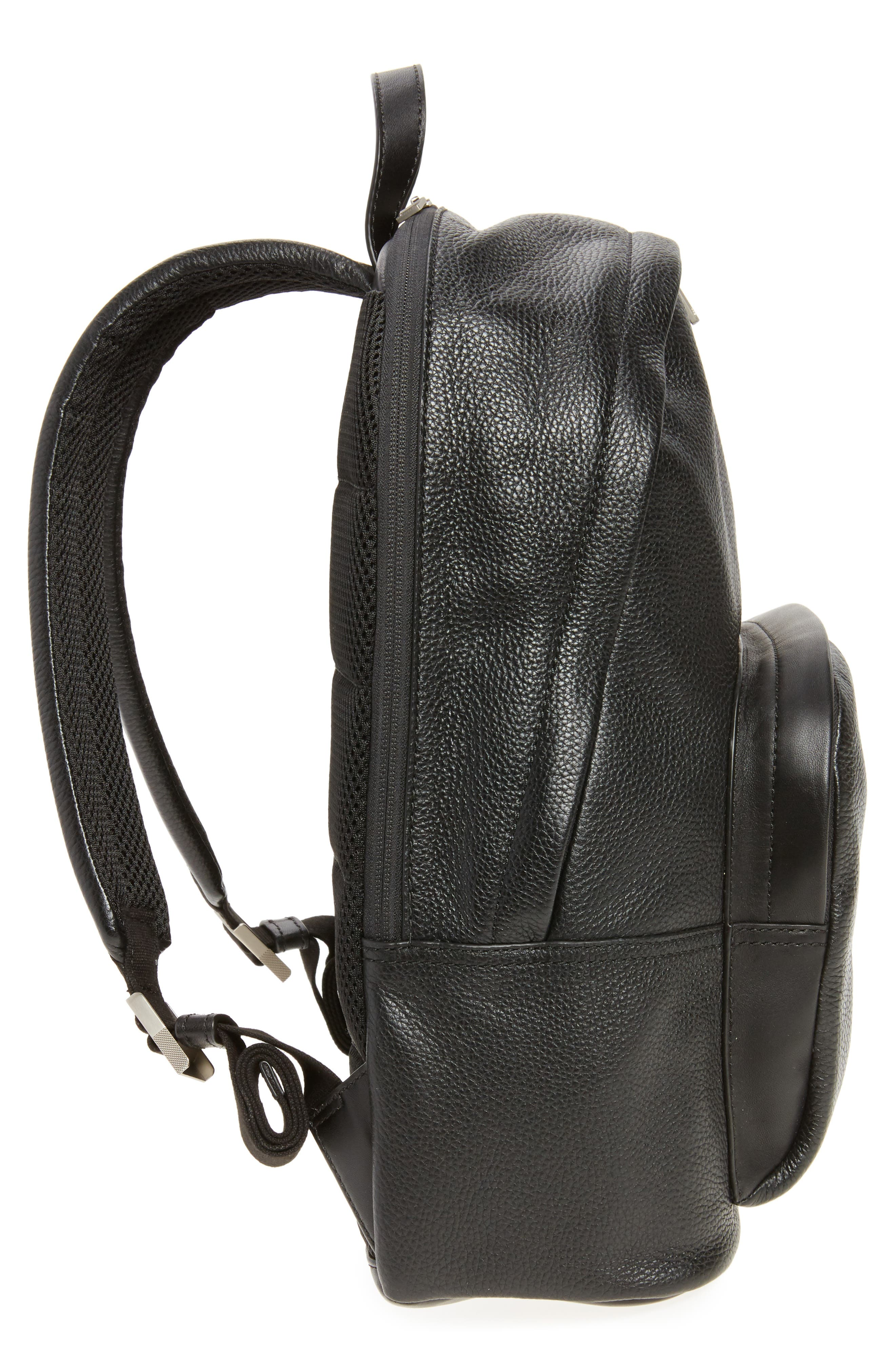 Pebbled Leather Backpack,                             Alternate thumbnail 5, color,                             001
