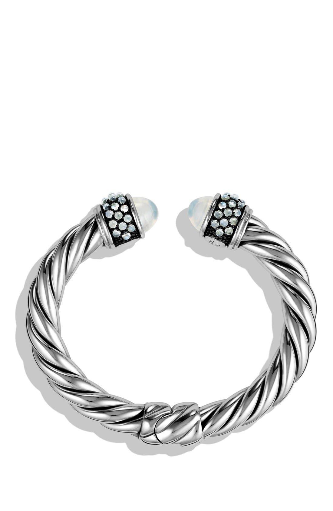 Bracelet with Semiprecious Stones, 10mm,                             Alternate thumbnail 2, color,                             MOON/ MILKY QUARTZ