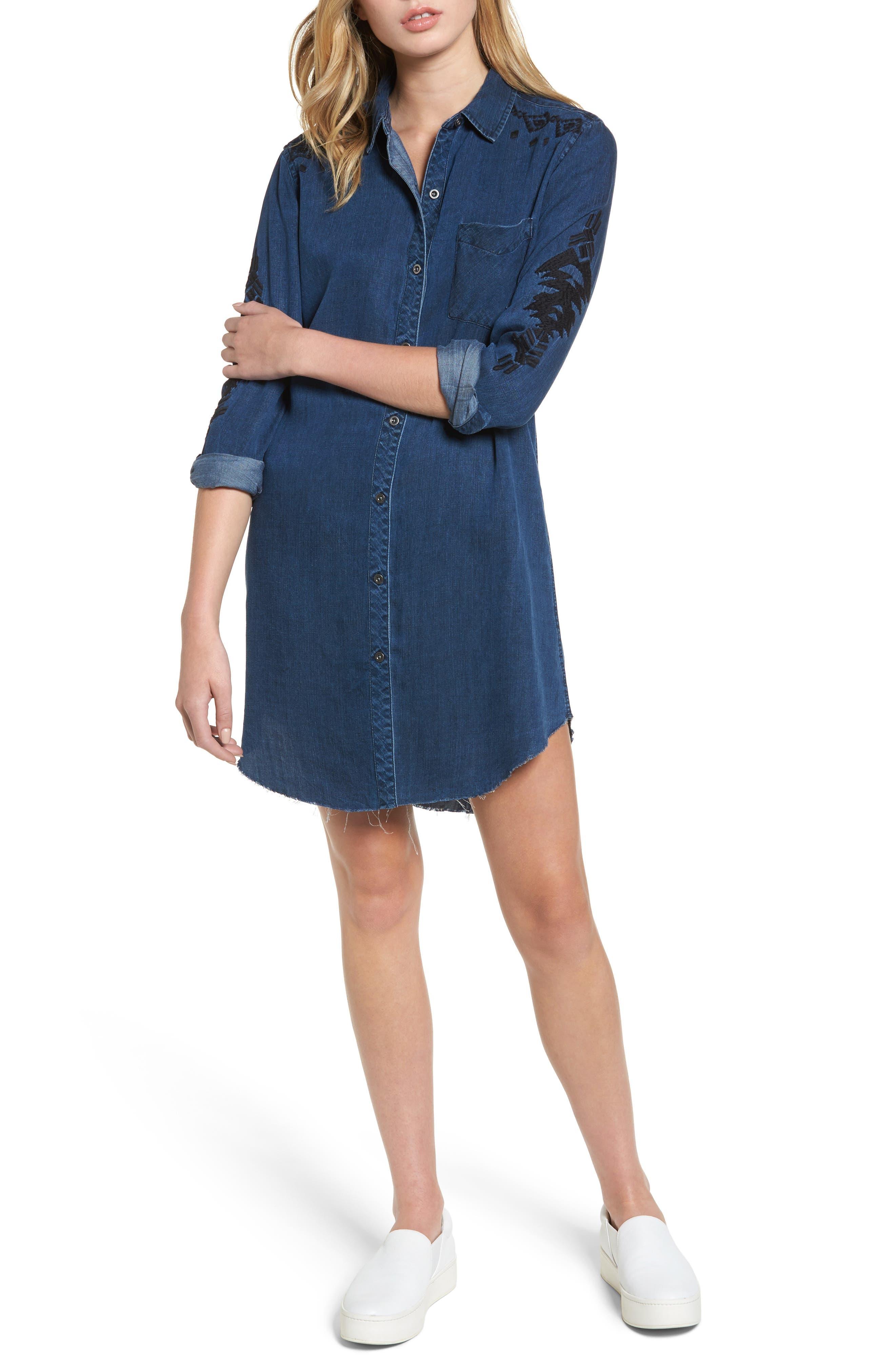 Ashland Chambray Shirtdress,                         Main,                         color, 404