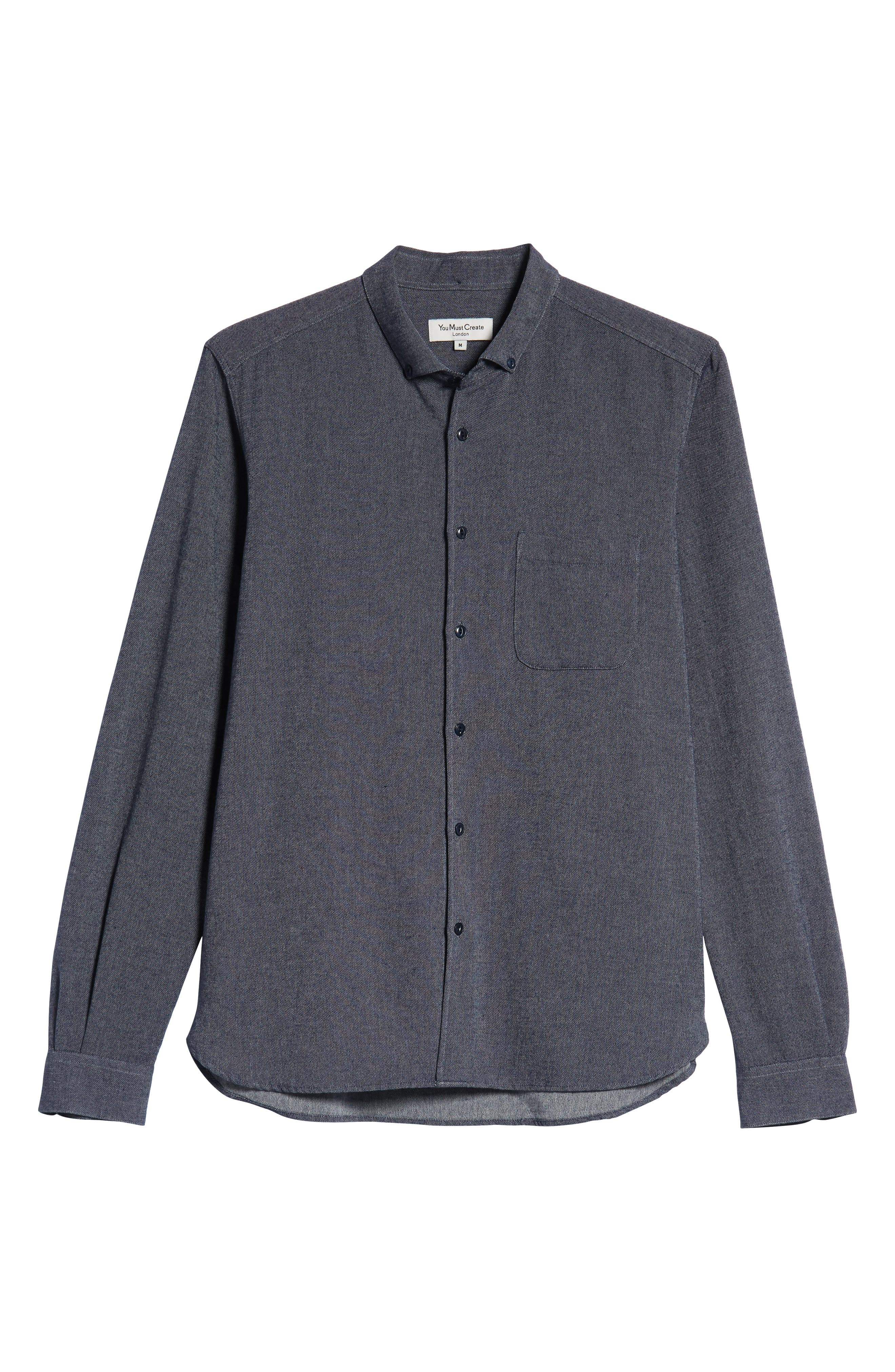 Dean Regular Fit Chambray Shirt,                             Alternate thumbnail 5, color,                             NAVY