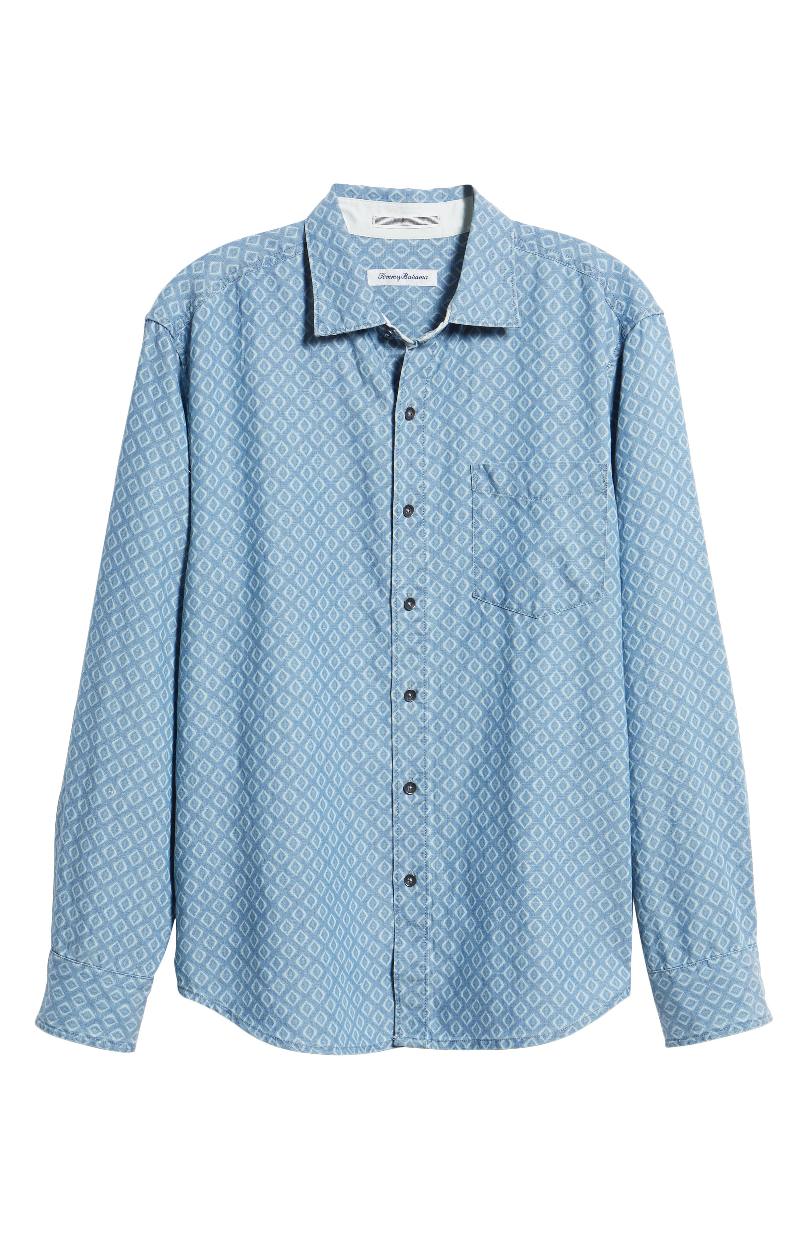 Geo Indigo Regular Fit Sport Shirt,                             Alternate thumbnail 5, color,                             400