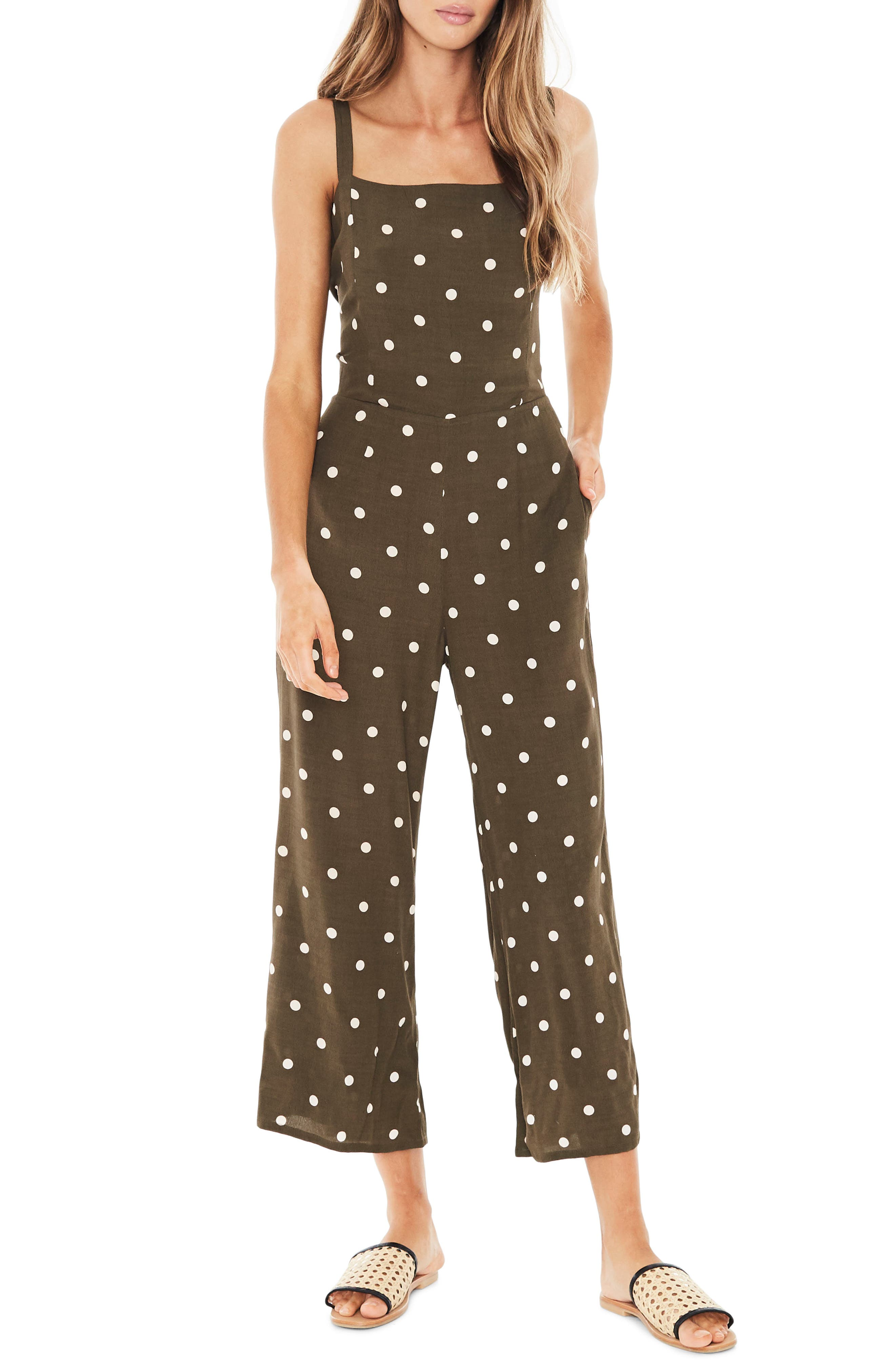 Playa Polka Dot Jumpsuit,                         Main,                         color, 200