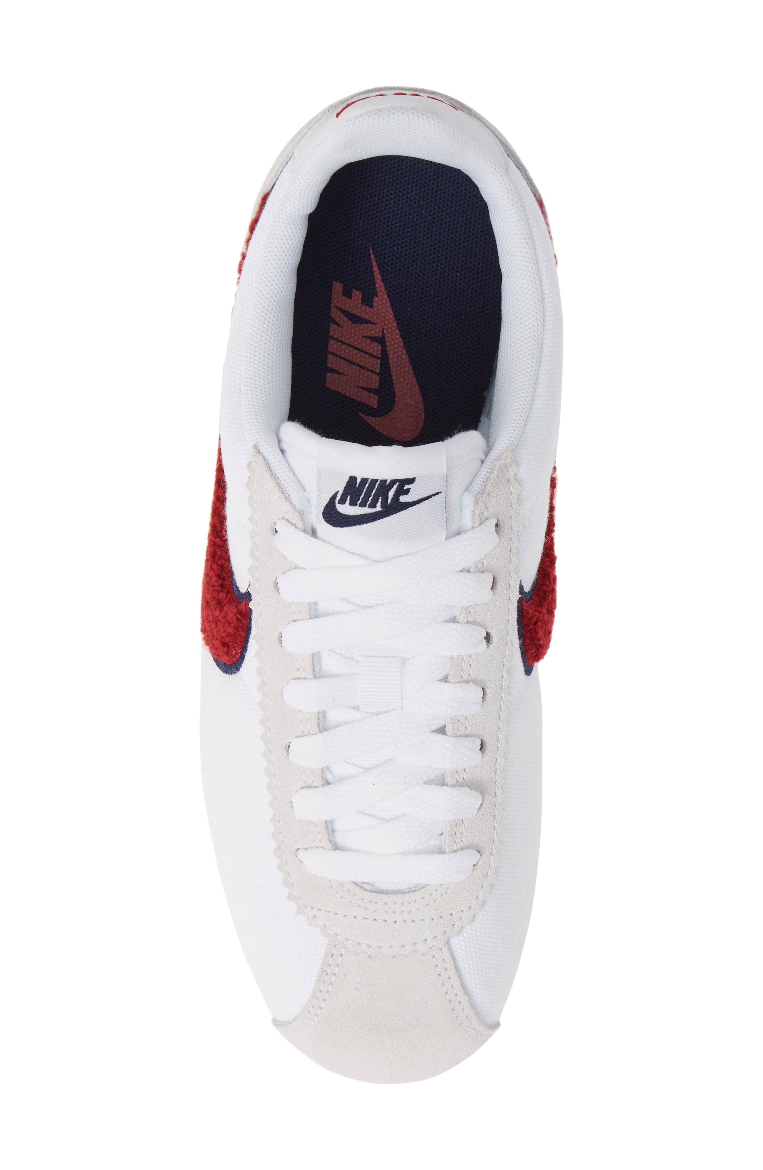 Classic Cortez Premium XLV Sneaker,                             Alternate thumbnail 5, color,                             WHITE/ RED CRUSH/ LIGHT BROWN