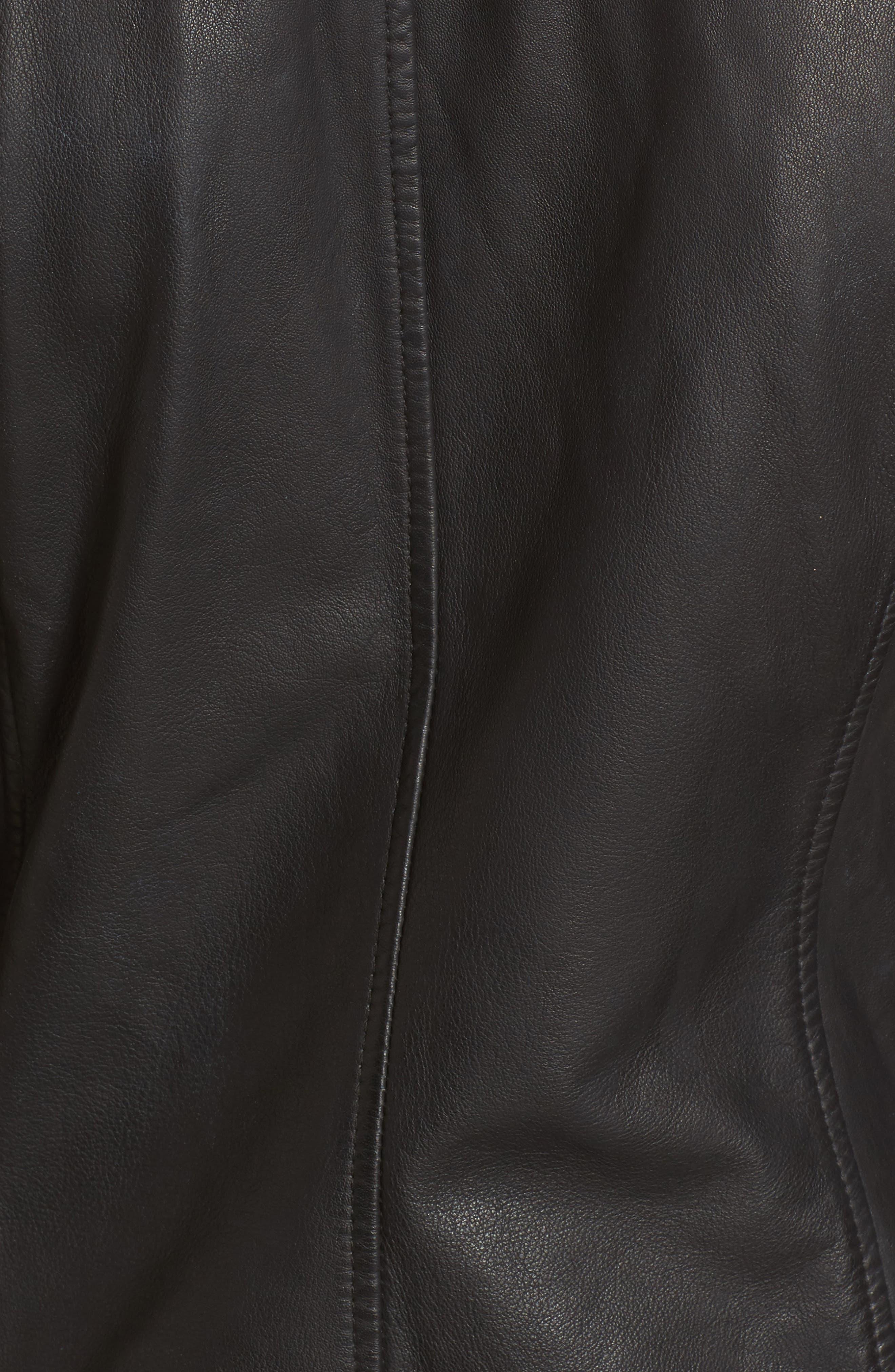 Moto Zip Leather Jacket,                             Alternate thumbnail 6, color,                             001