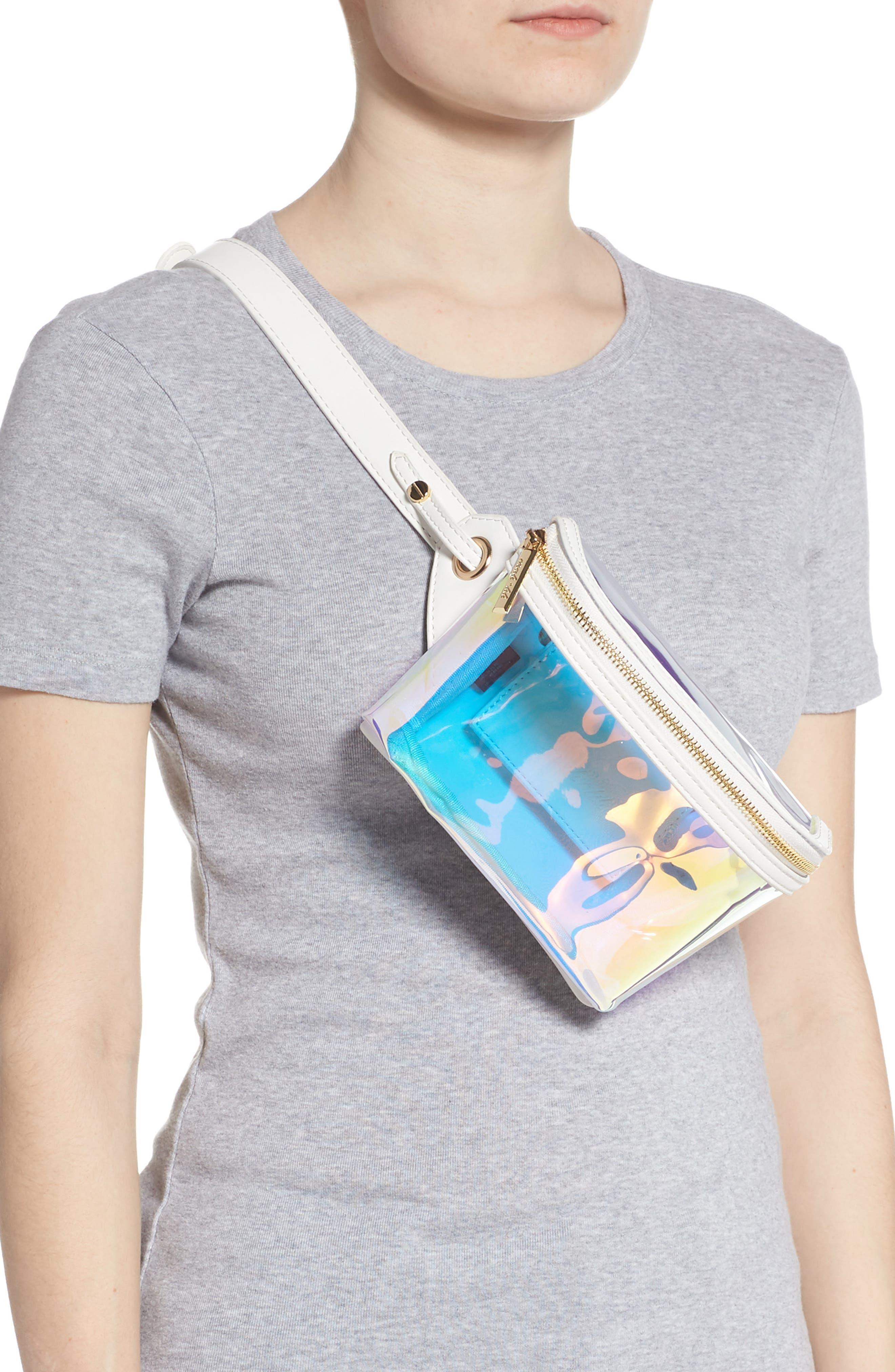 Irina Clear Belt Bag,                             Alternate thumbnail 3, color,                             HOLOGRAPHIC/ WHITE