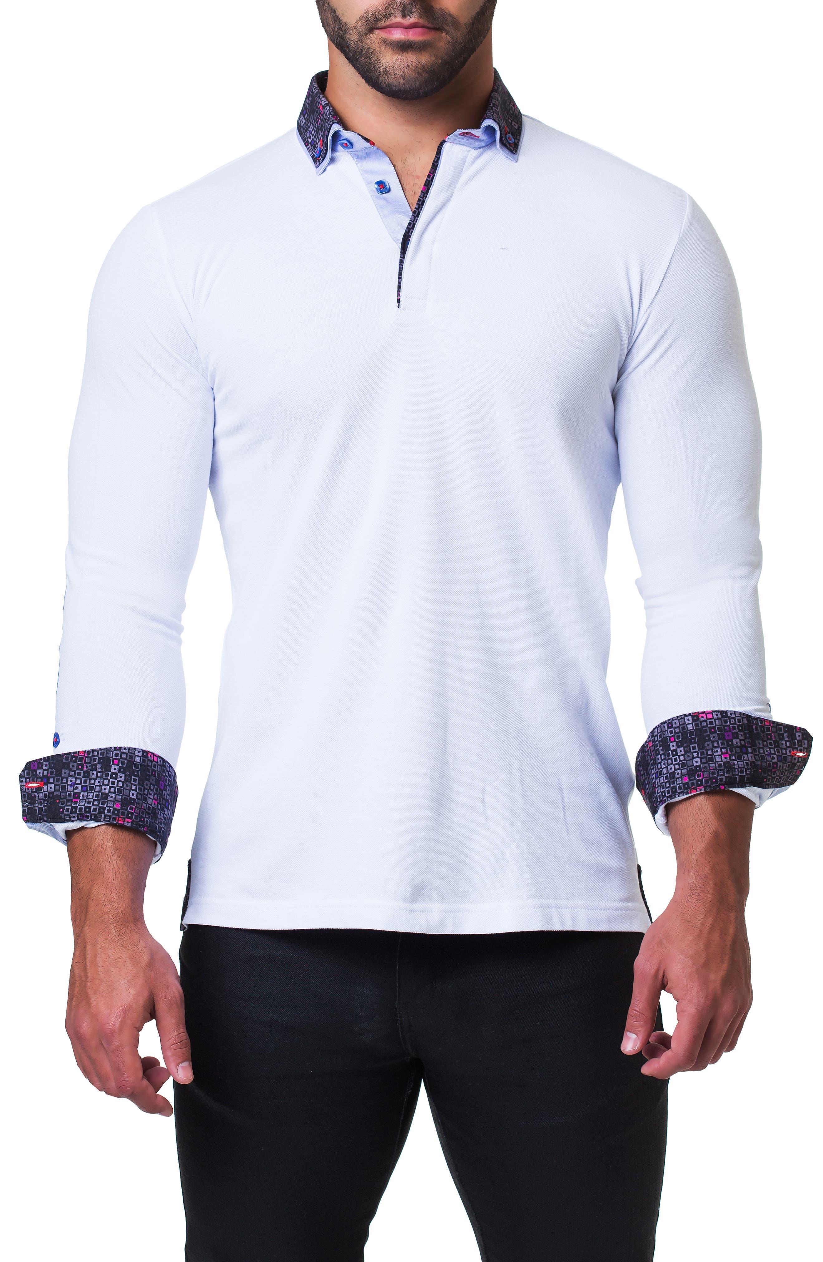 Newton Trim Fit Long Sleeve Polo,                             Alternate thumbnail 4, color,                             WHITE