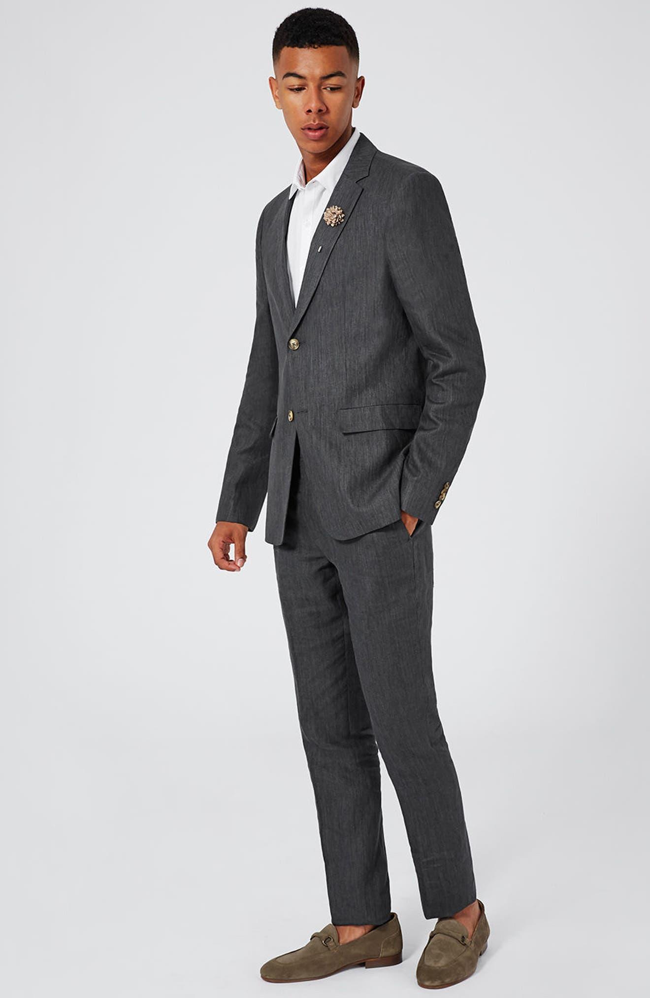 Skinny Fit Linen Suit Jacket,                             Alternate thumbnail 6, color,                             021