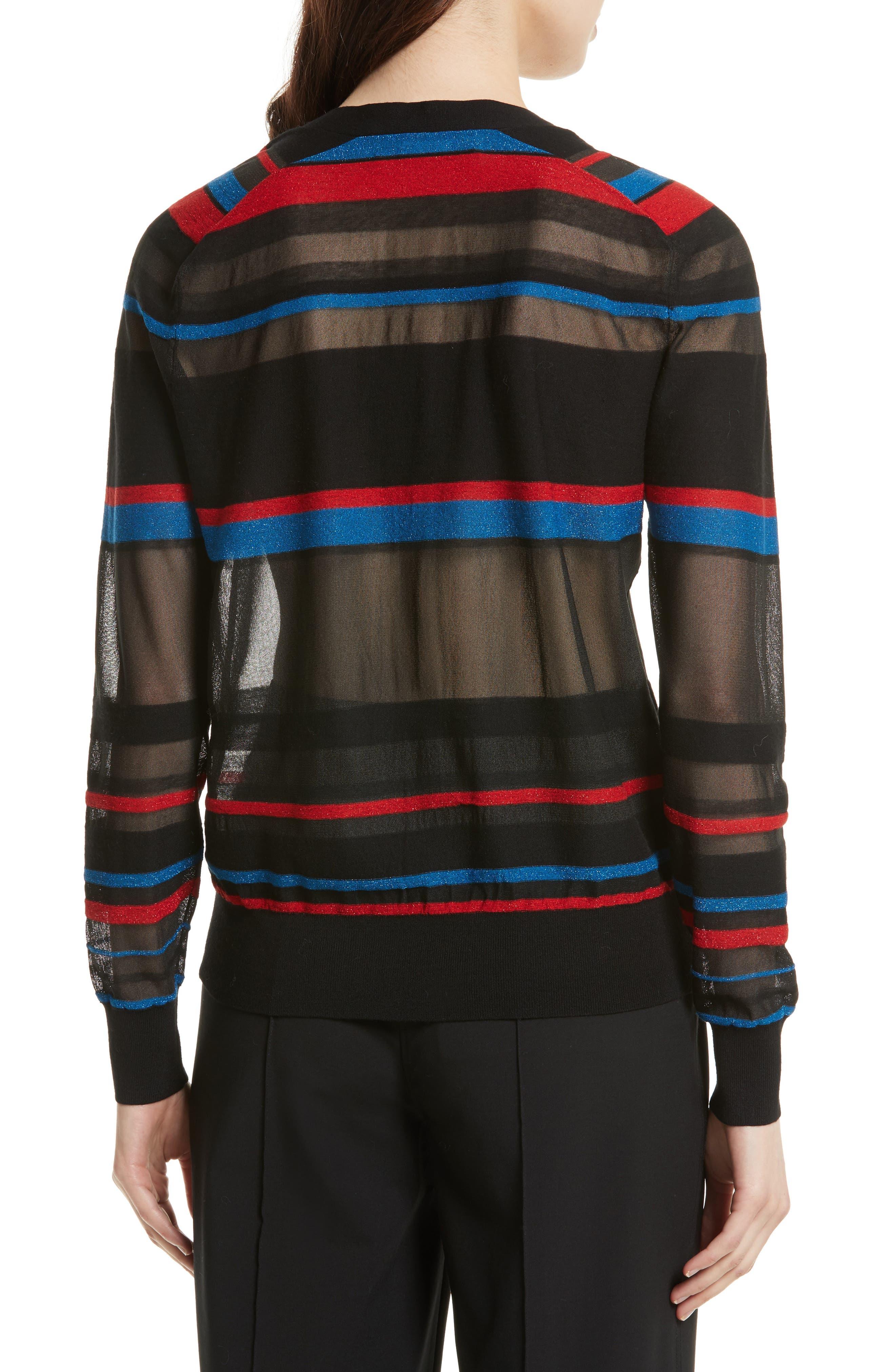 Stripe V-Neck Cardigan,                             Alternate thumbnail 2, color,