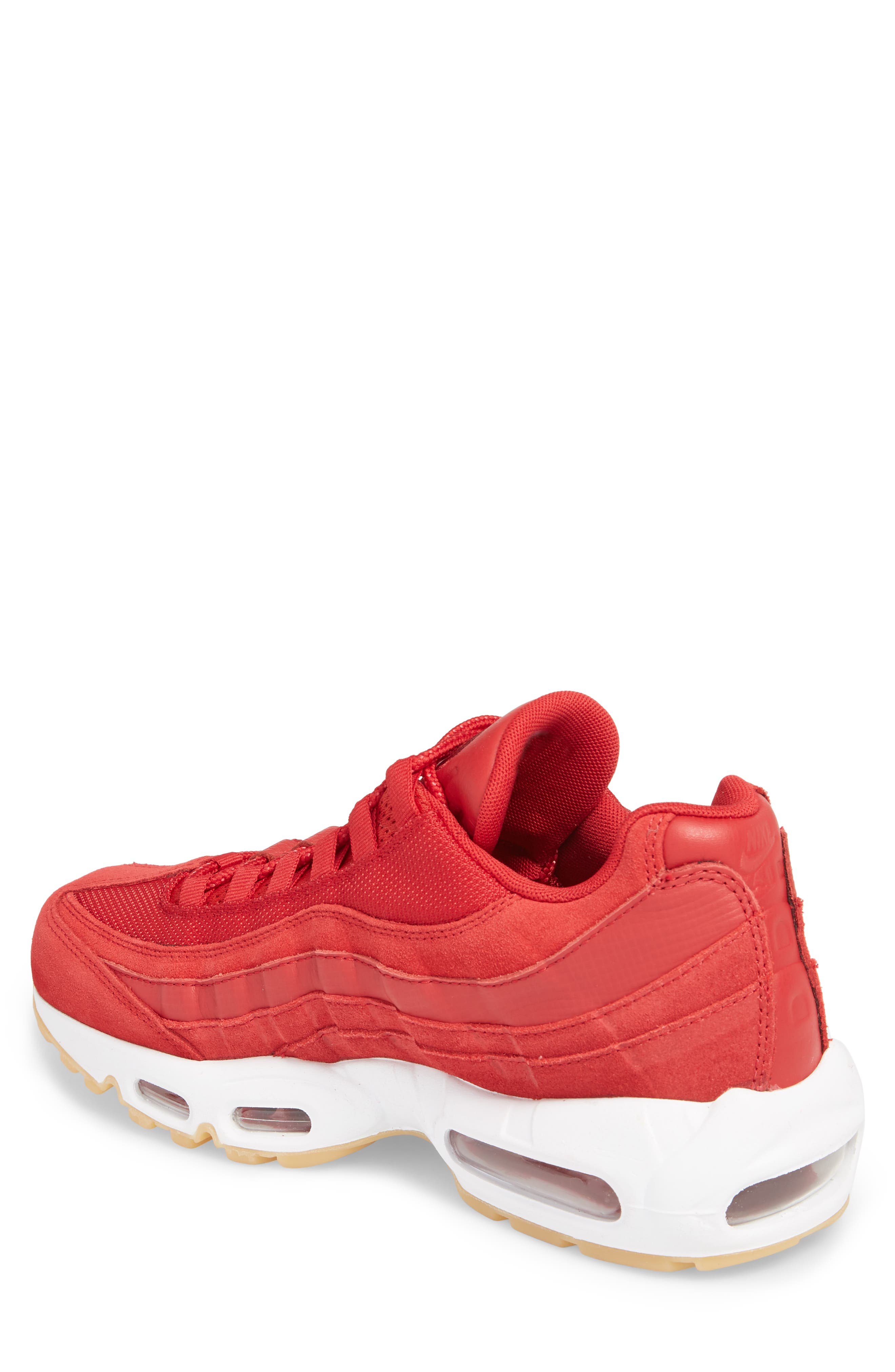 Air Max 95 Sneaker,                             Alternate thumbnail 2, color,                             GYM RED/ TEAM RED/ WHITE