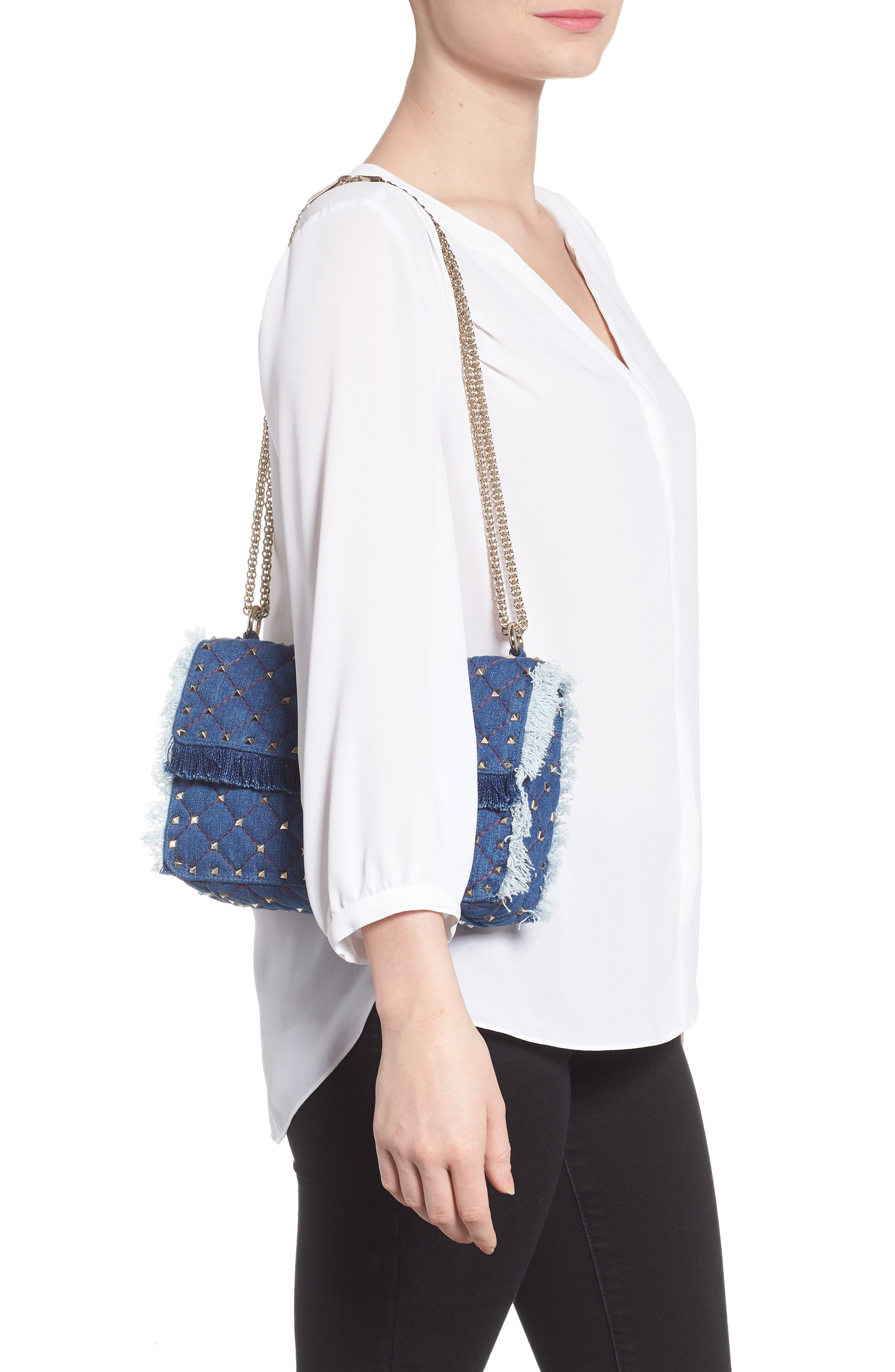 Rockstud Spike Medium Shoulder Bag,                             Alternate thumbnail 2, color,                             DENIM