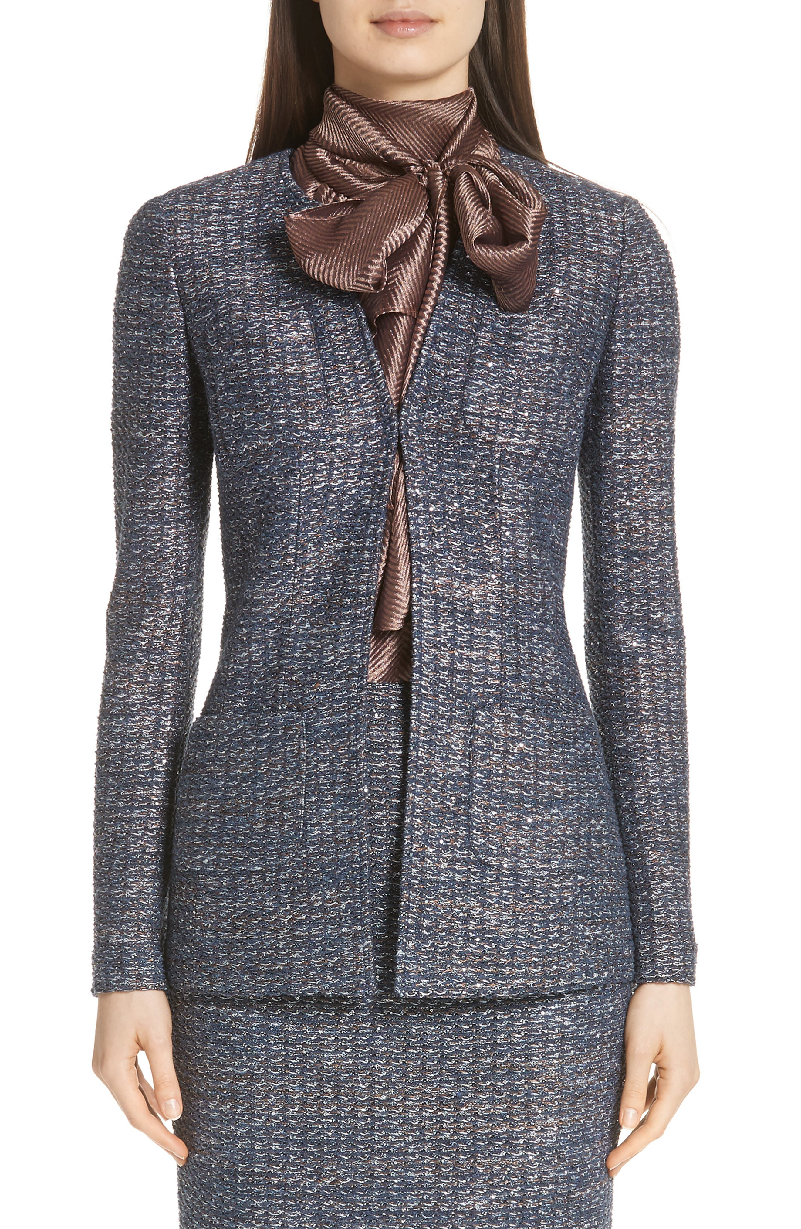 Copper Sequin Tweed Knit Jacket,                             Main thumbnail 1, color,                             410