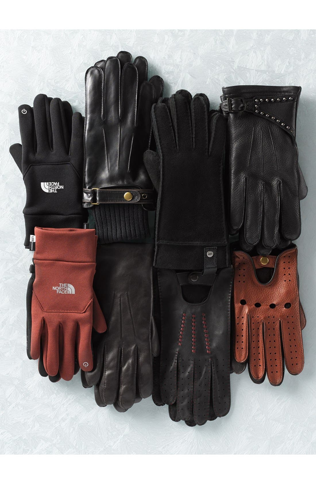Leather Tech Gloves,                             Alternate thumbnail 4, color,                             001