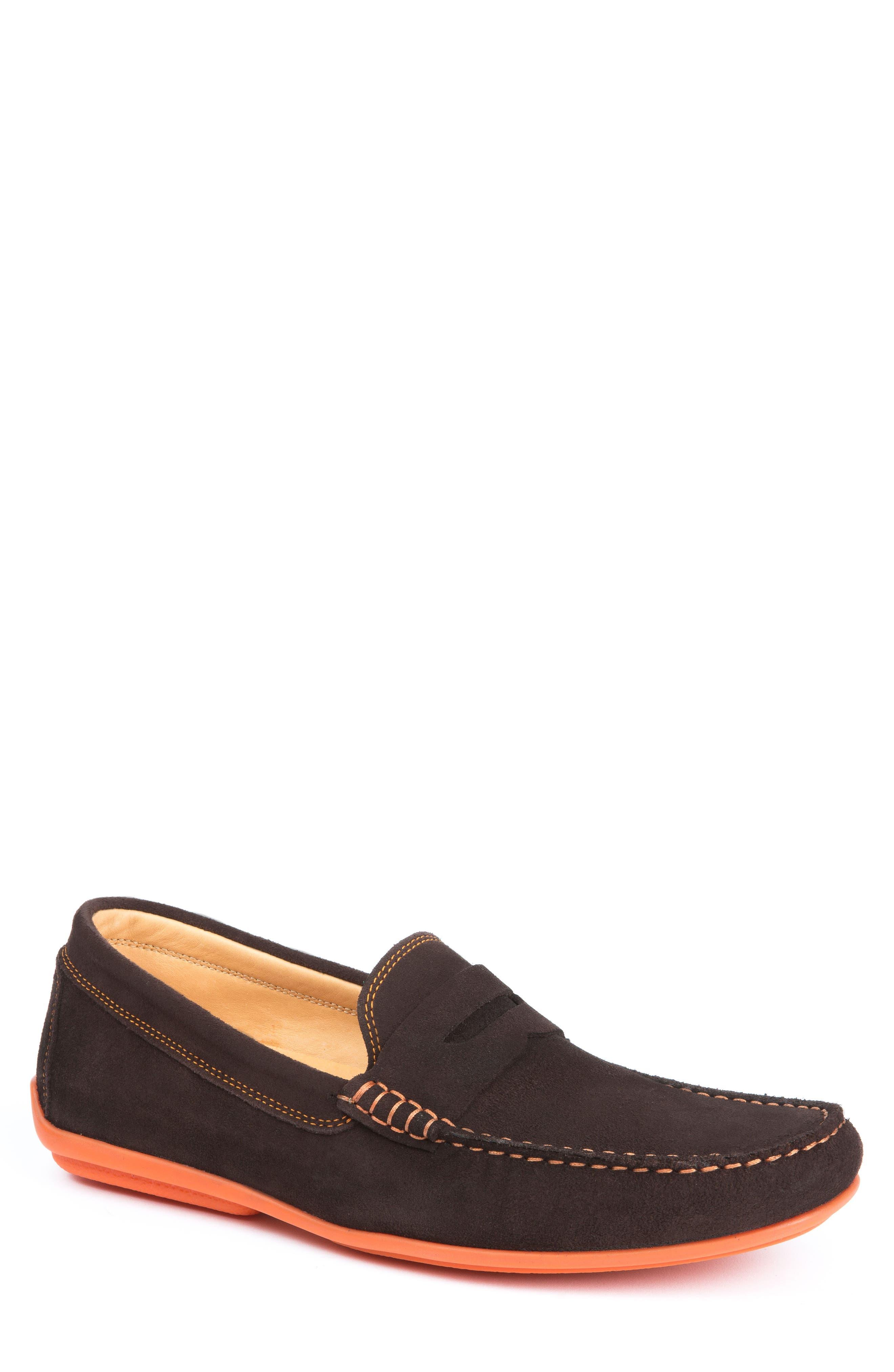 'North Sides' Penny Loafer,                         Main,                         color, BROWN SUEDE/ ORANGE