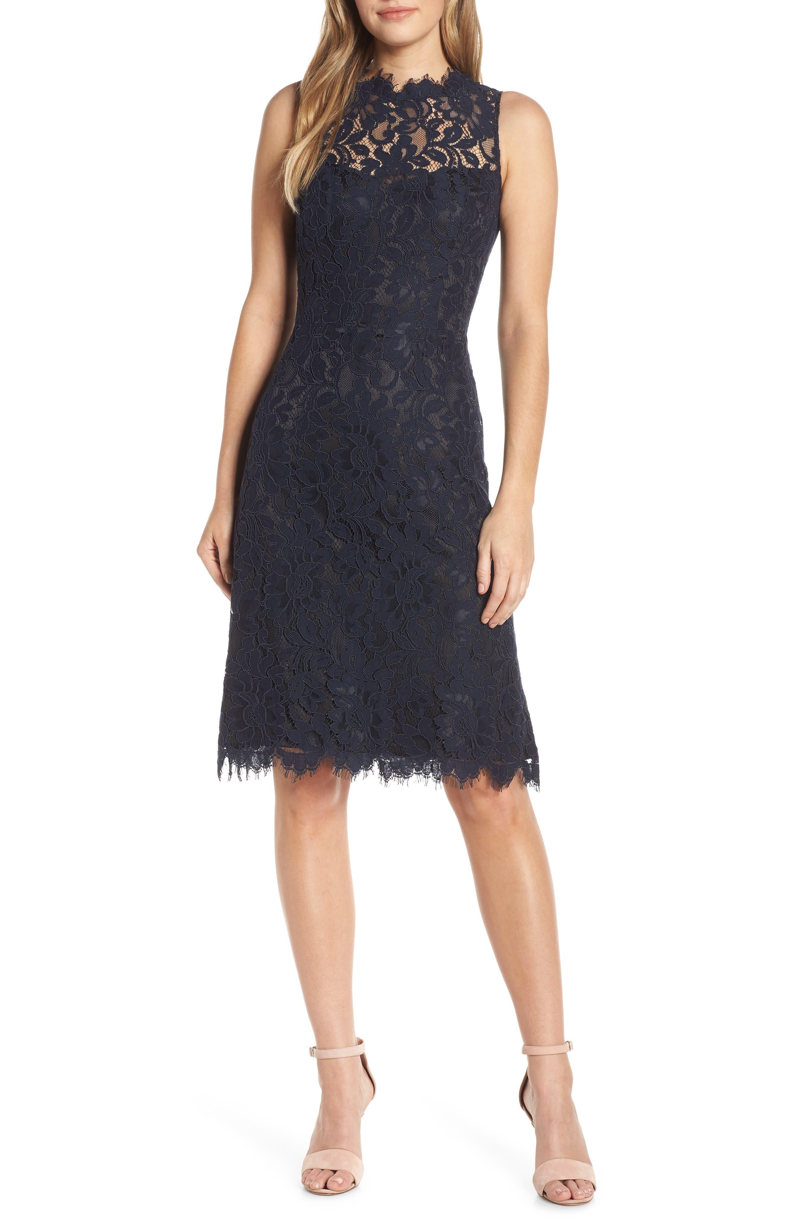 women's eliza j high neck lace sheath dress, size 2 - blue