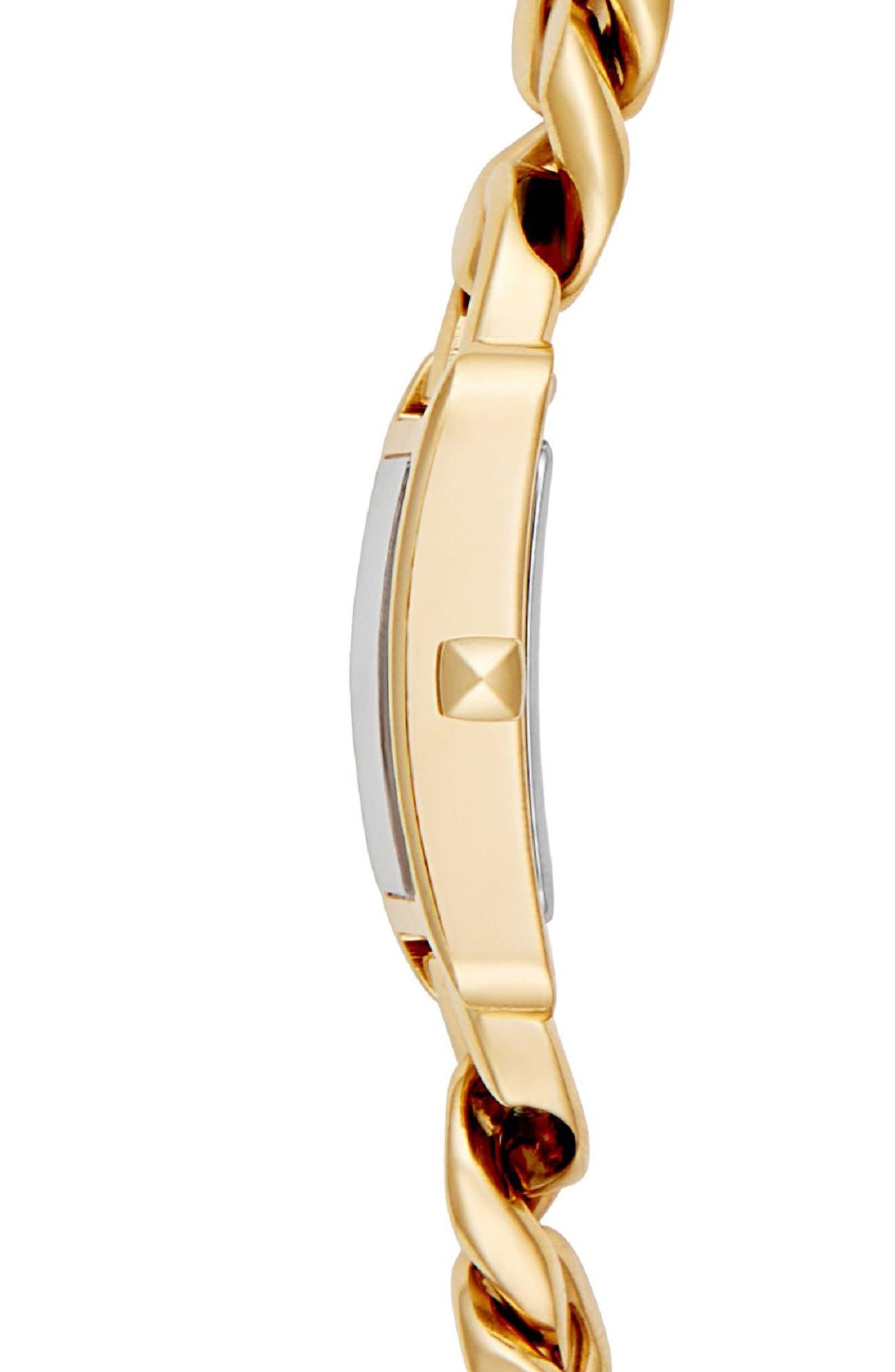 Moment Chain Wrap Bracelet Watch, 19mm x 30mm,                             Alternate thumbnail 3, color,                             GOLD/ BLACK/ GOLD
