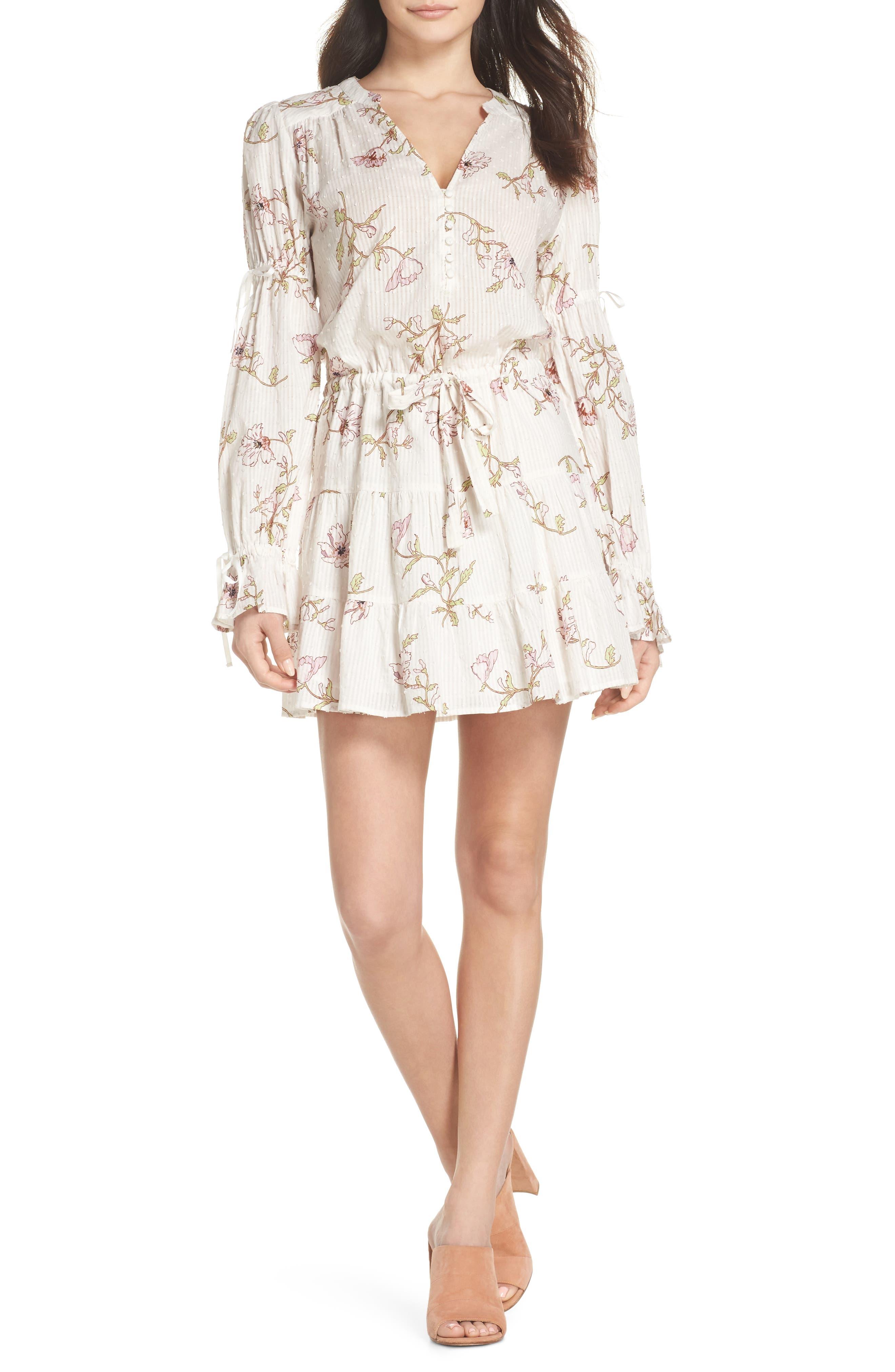 Yardley Floral Minidress,                         Main,                         color, WHITE / MAUVE SHADOWS