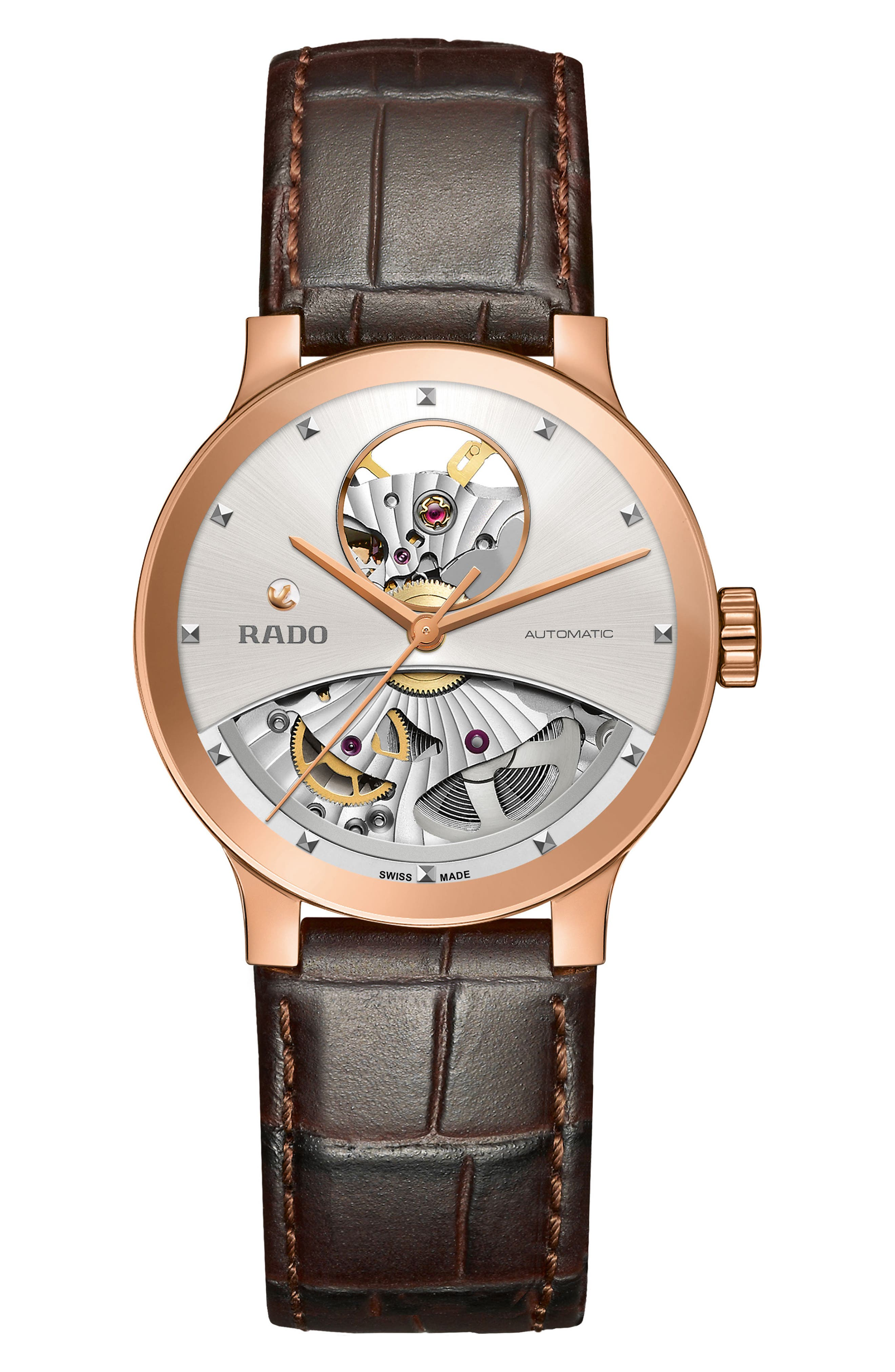 Centrix Open Heart Automatic Leather Strap Watch, 33mm,                         Main,                         color, 200
