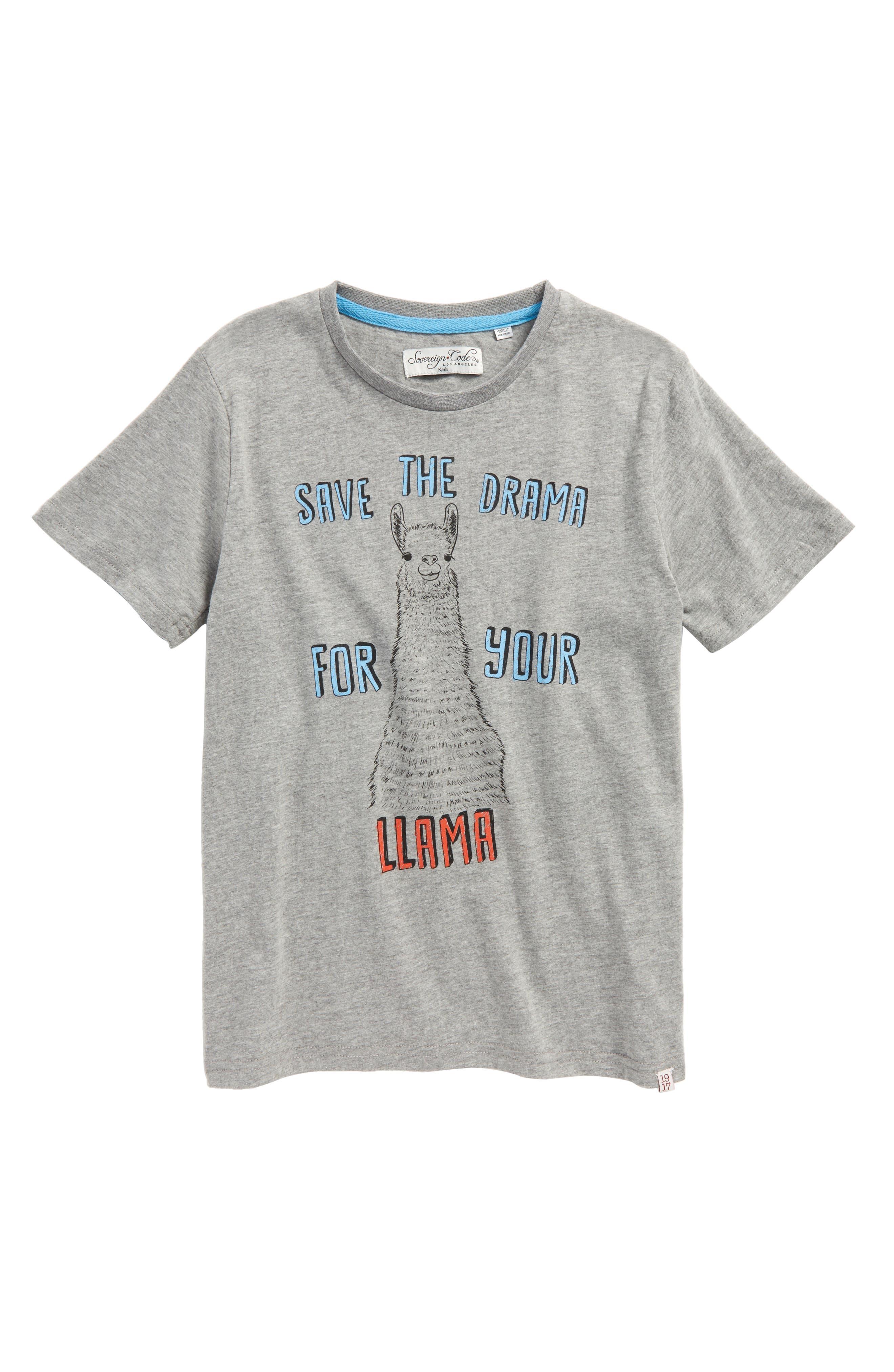 Llama Drama Graphic T-Shirt,                             Main thumbnail 1, color,                             060