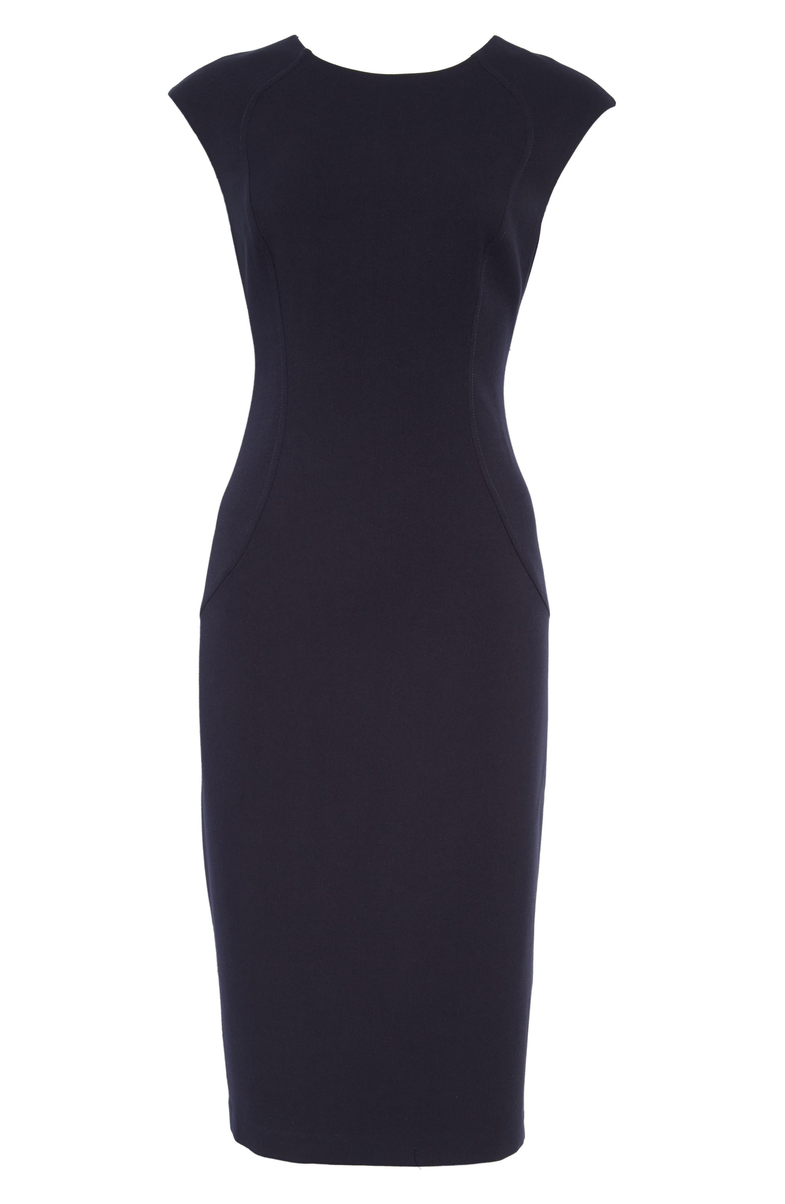 Cap Sleeve Crepe Sheath Dress,                             Main thumbnail 1, color,                             412