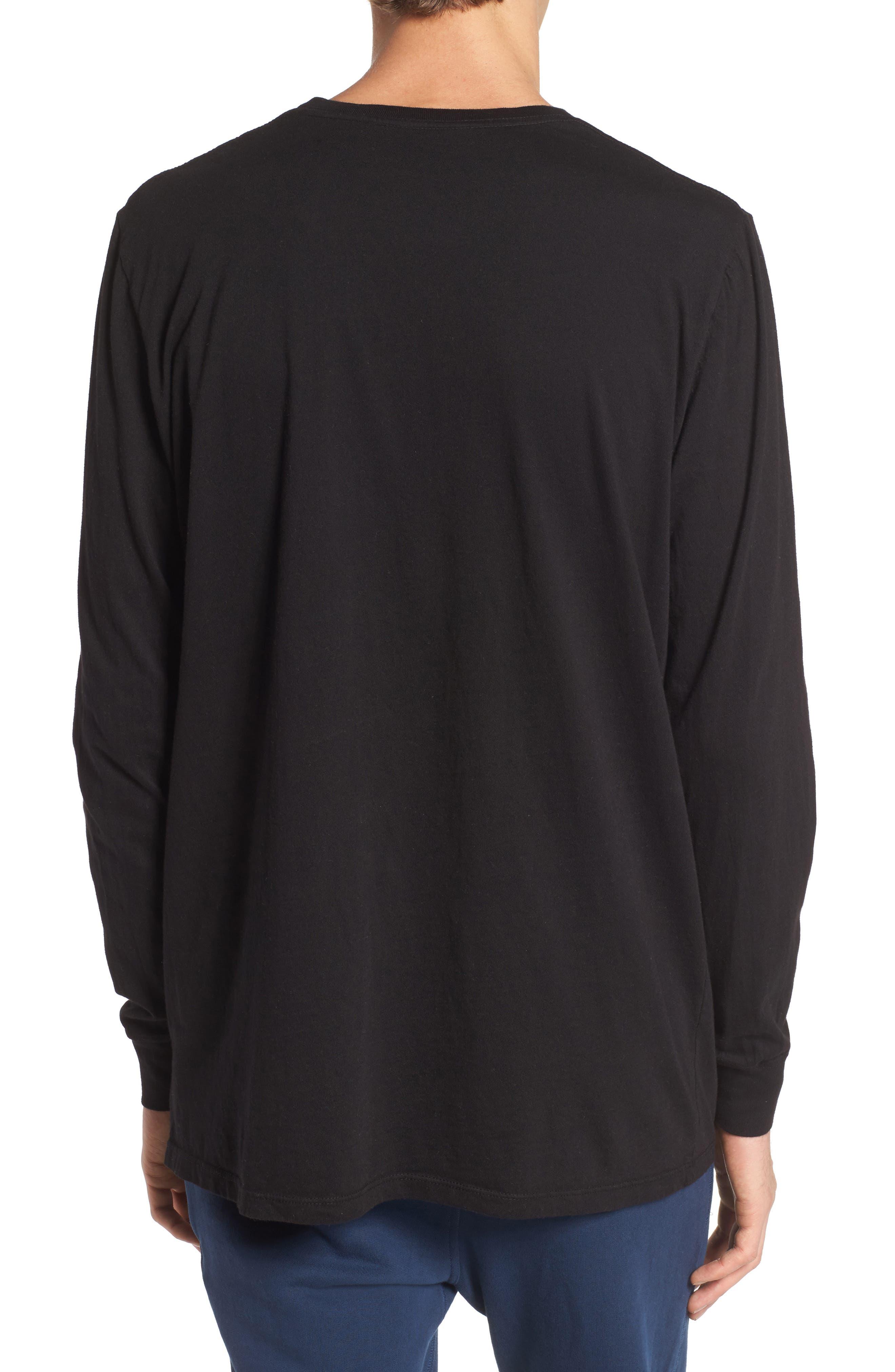 Lounge Long Sleeve Pocket T-Shirt,                             Alternate thumbnail 2, color,                             BLACK