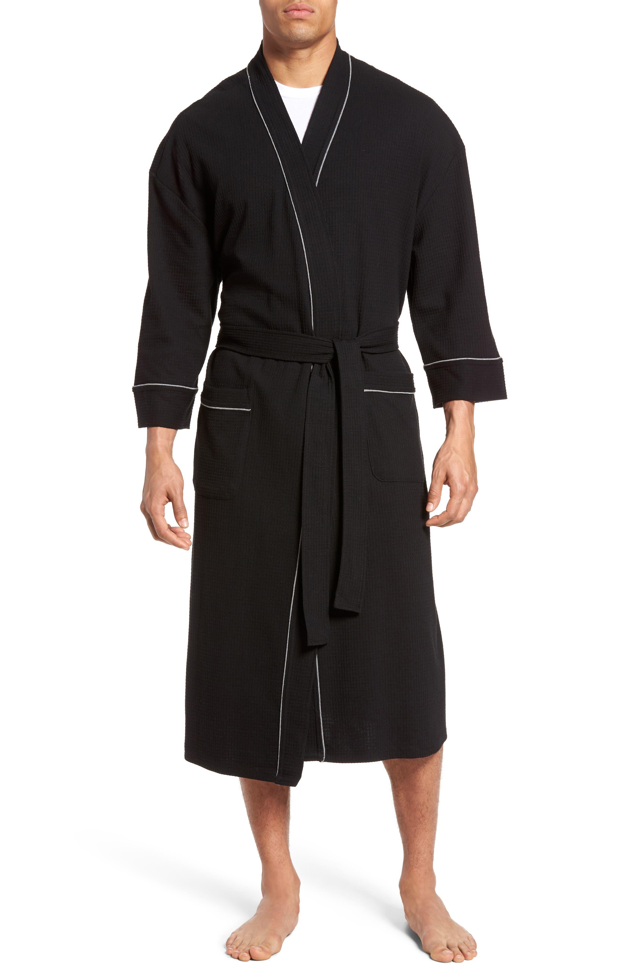 Waffle Knit Robe,                         Main,                         color, BLACK