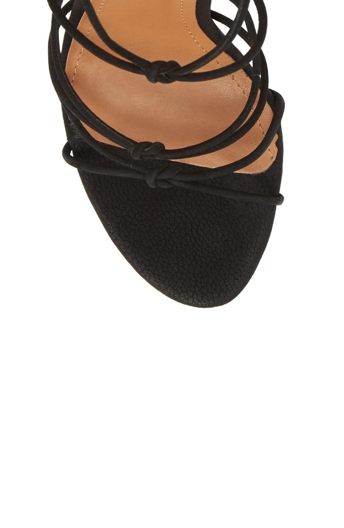 Bordega Ankle Wrap Sandal,                             Alternate thumbnail 5, color,                             BLACK LEATHER