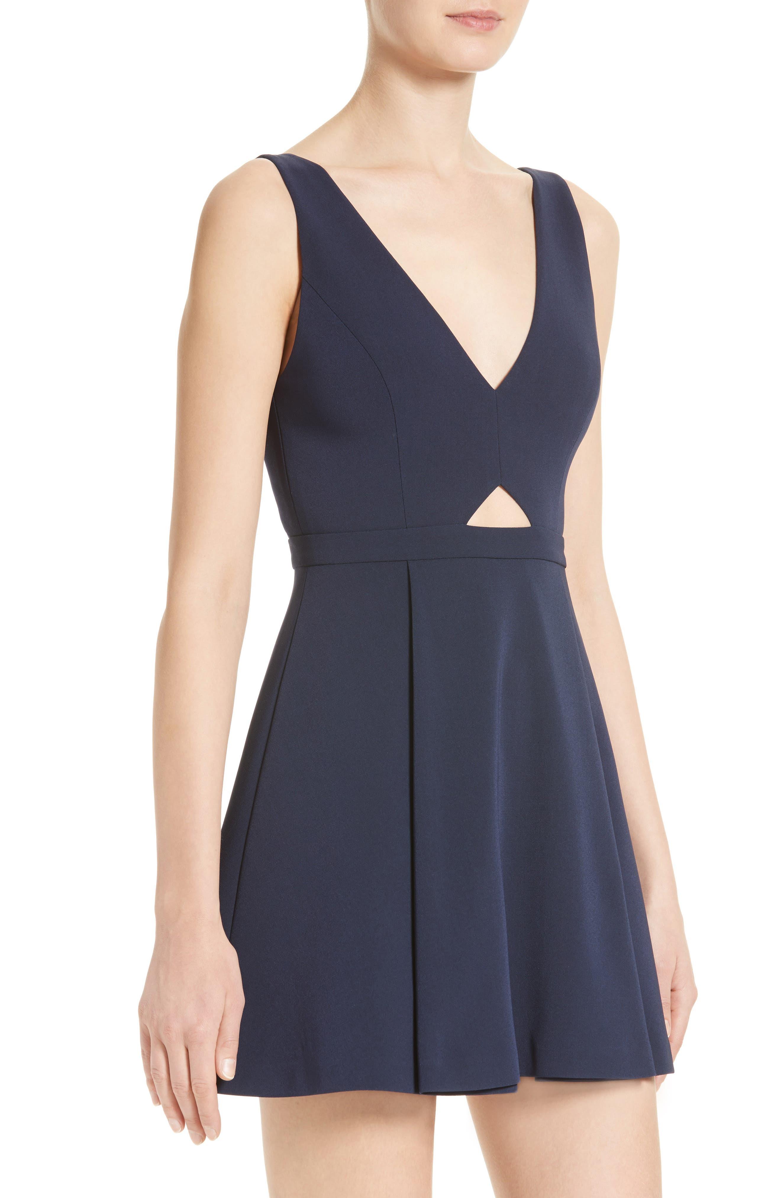 Nina Cutout Fit & Flare Dress,                             Alternate thumbnail 4, color,                             410