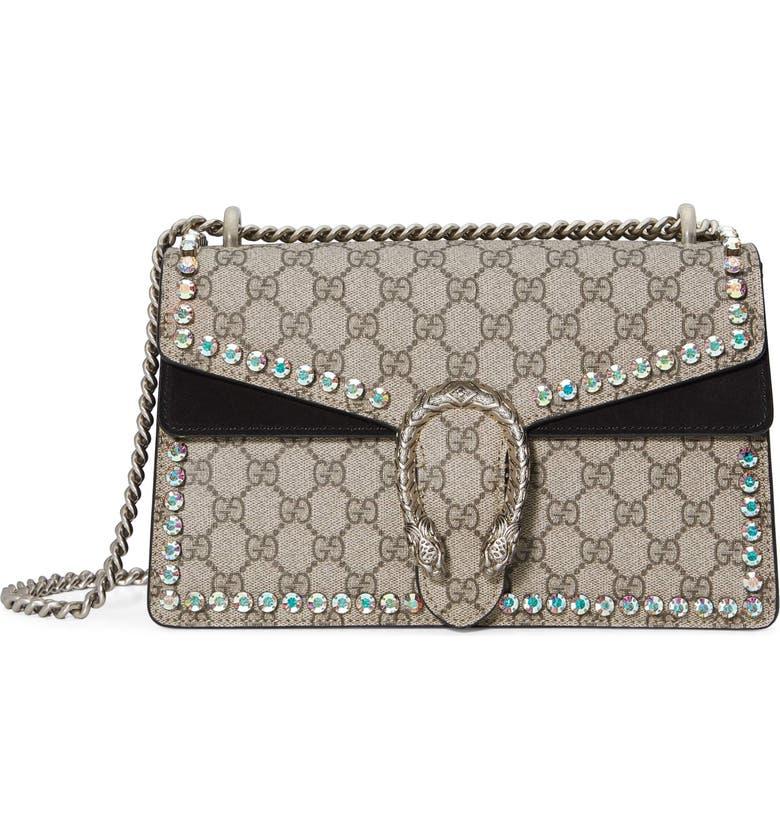 927445a0d39e GUCCI Small Dionysus Crystal Embellished GG Supreme Canvas   Suede Shoulder  Bag