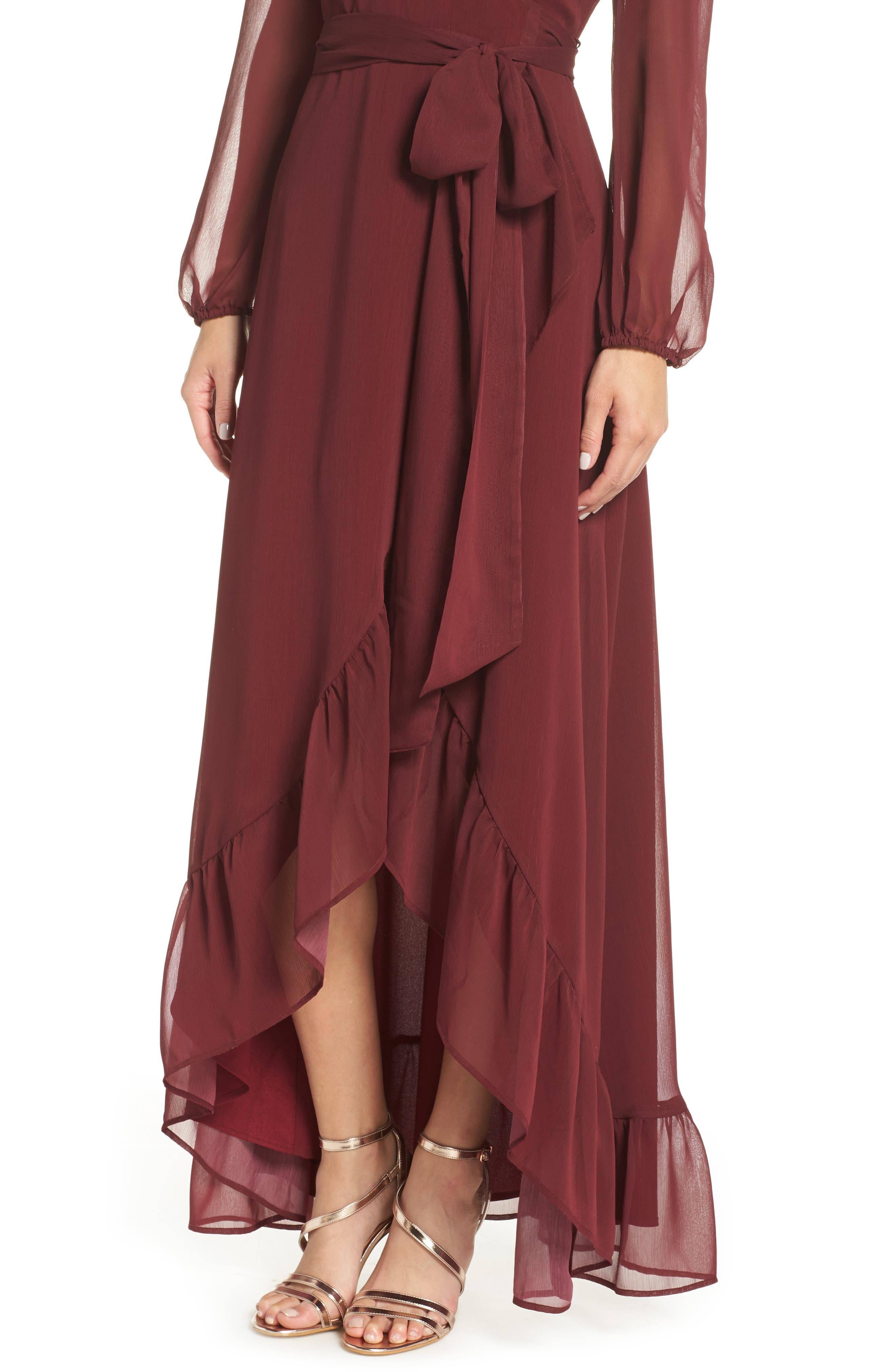 Meryl Long Sleeve Wrap Maxi Dress,                             Alternate thumbnail 4, color,                             CABERNET