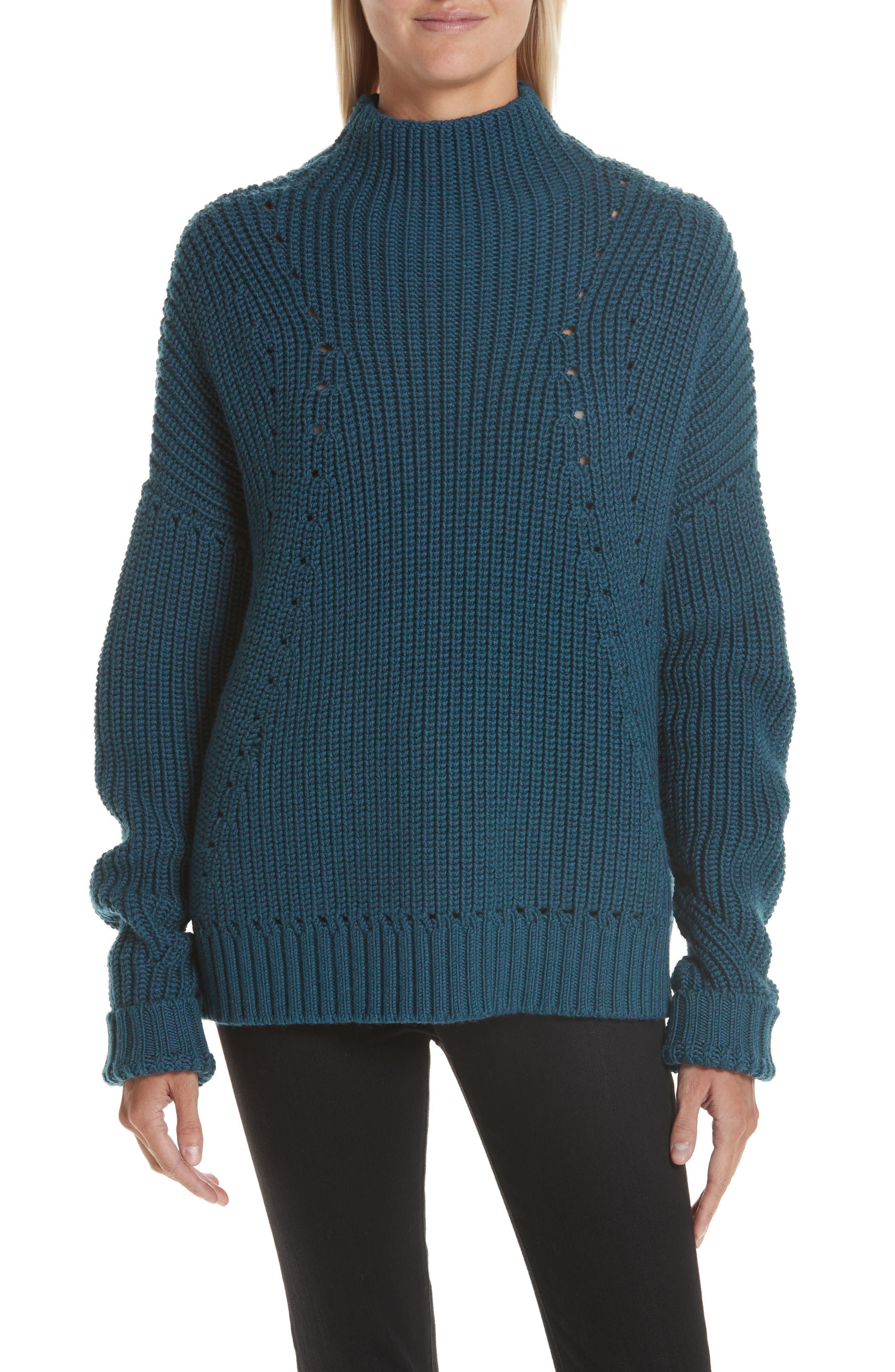 GREY JASON WU Merino Wool Mock Neck Sweater in Petrol Melange