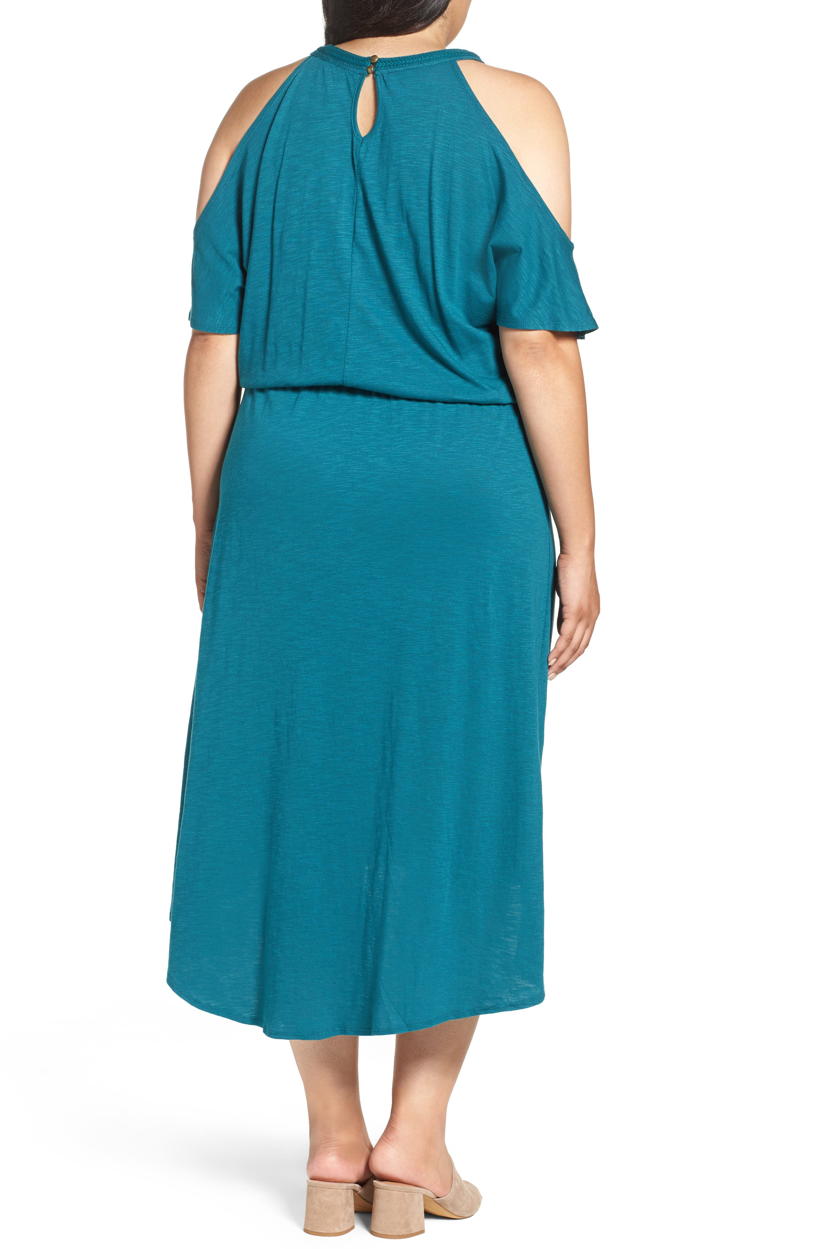 Embroidered Blouson Cold Shoulder Dress,                             Alternate thumbnail 2, color,                             360