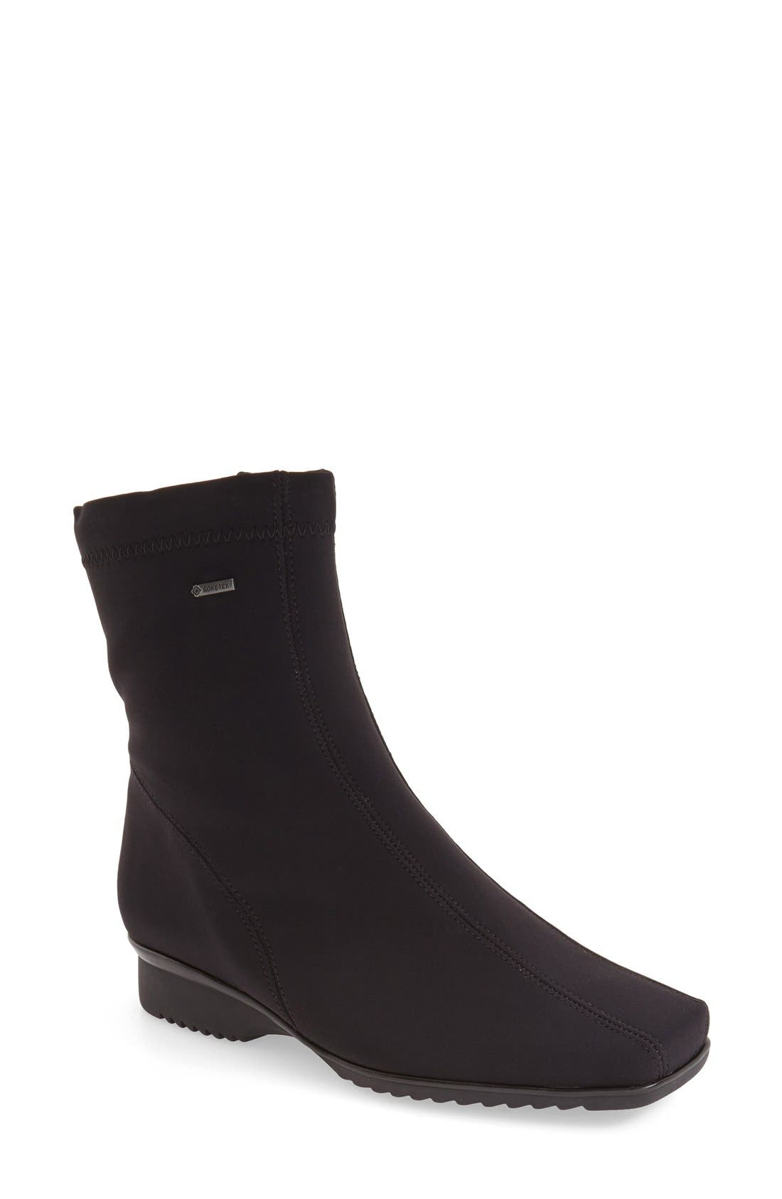ARA 'Page' Waterproof Gore-Tex<sup>®</sup> Ankle Bootie, Main, color, BLACK FABRIC