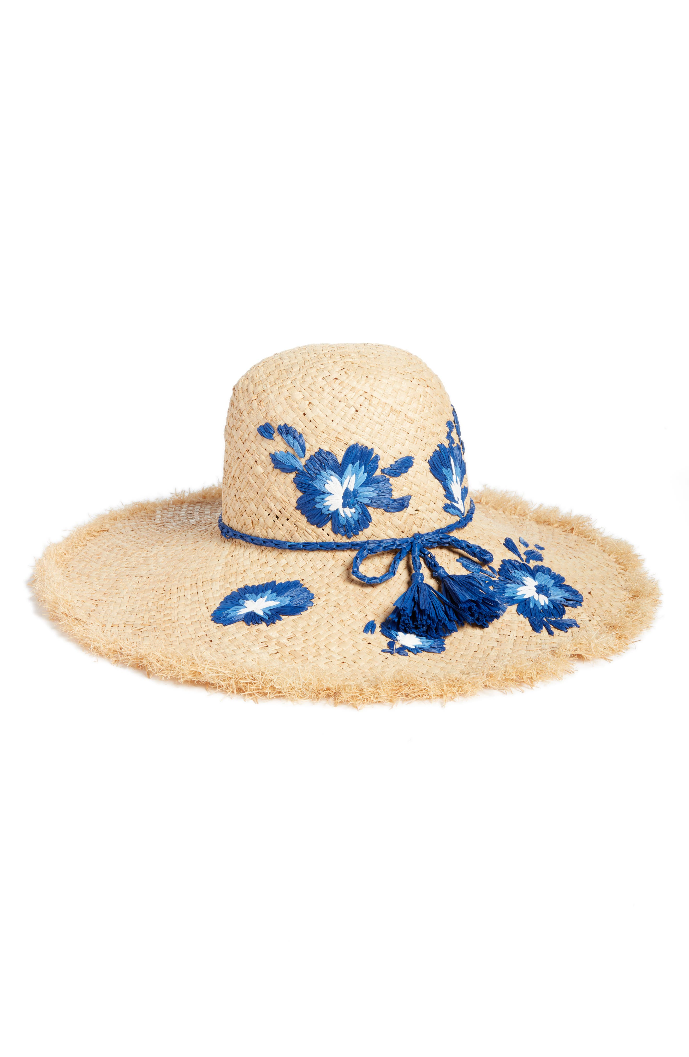 embroidered hibiscus straw sun hat,                             Main thumbnail 1, color,