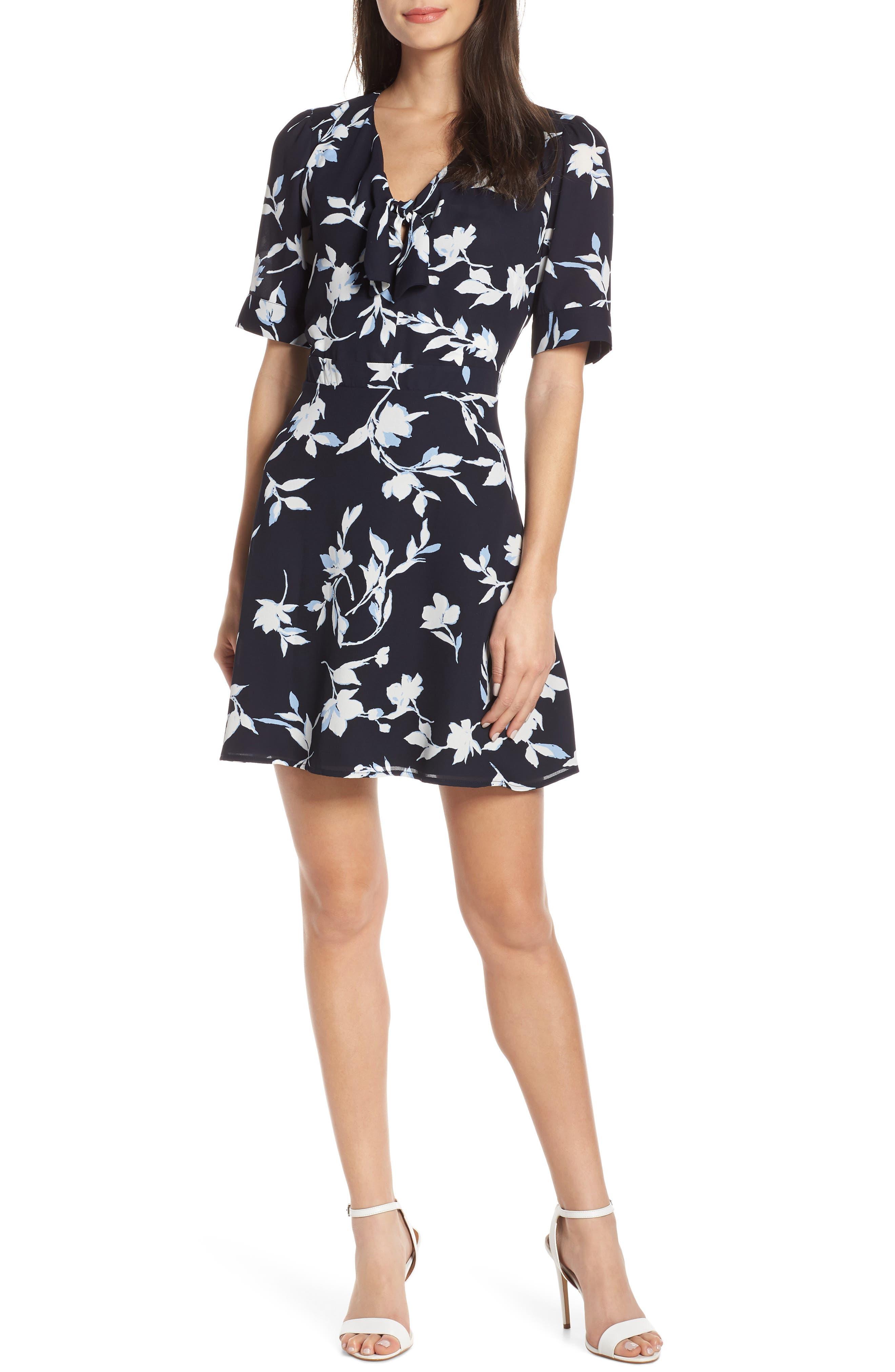 Chelsea28 Tie Front Floral Print Fit & Flare Dress, Blue
