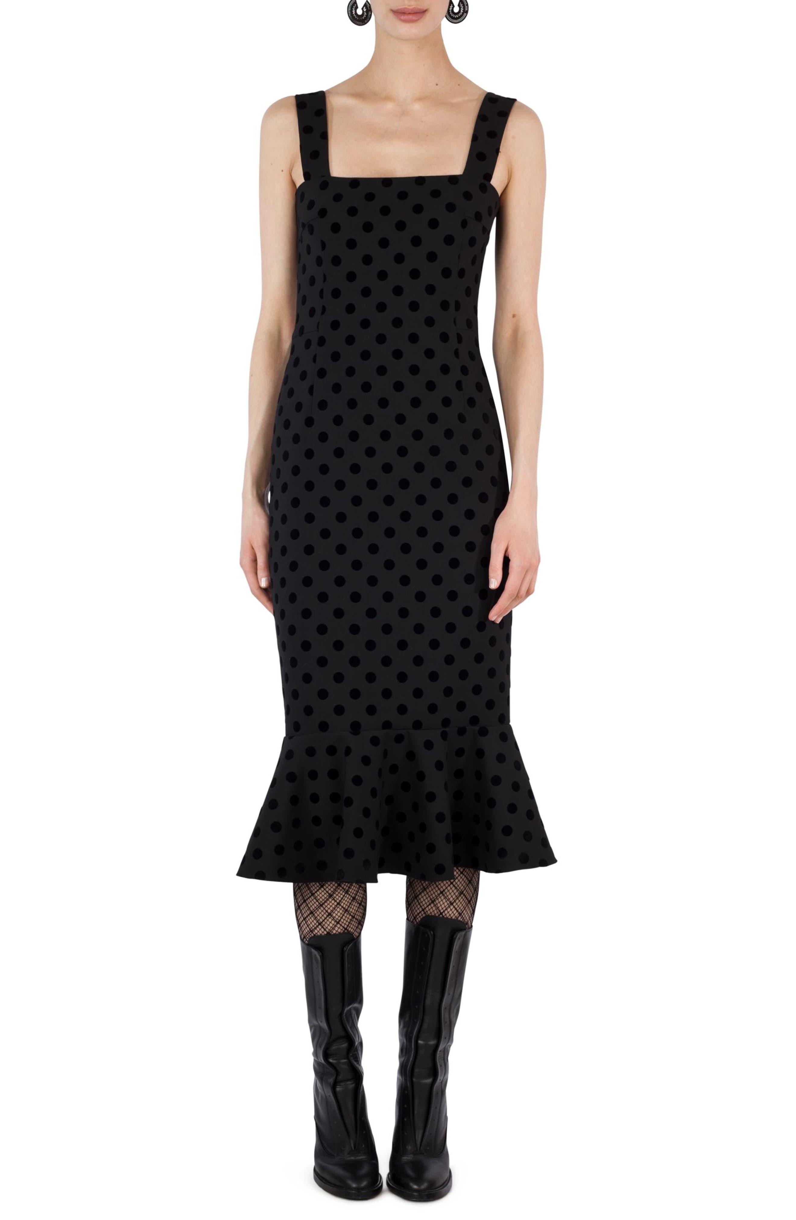 Velvet Dot Dress,                         Main,                         color, 001