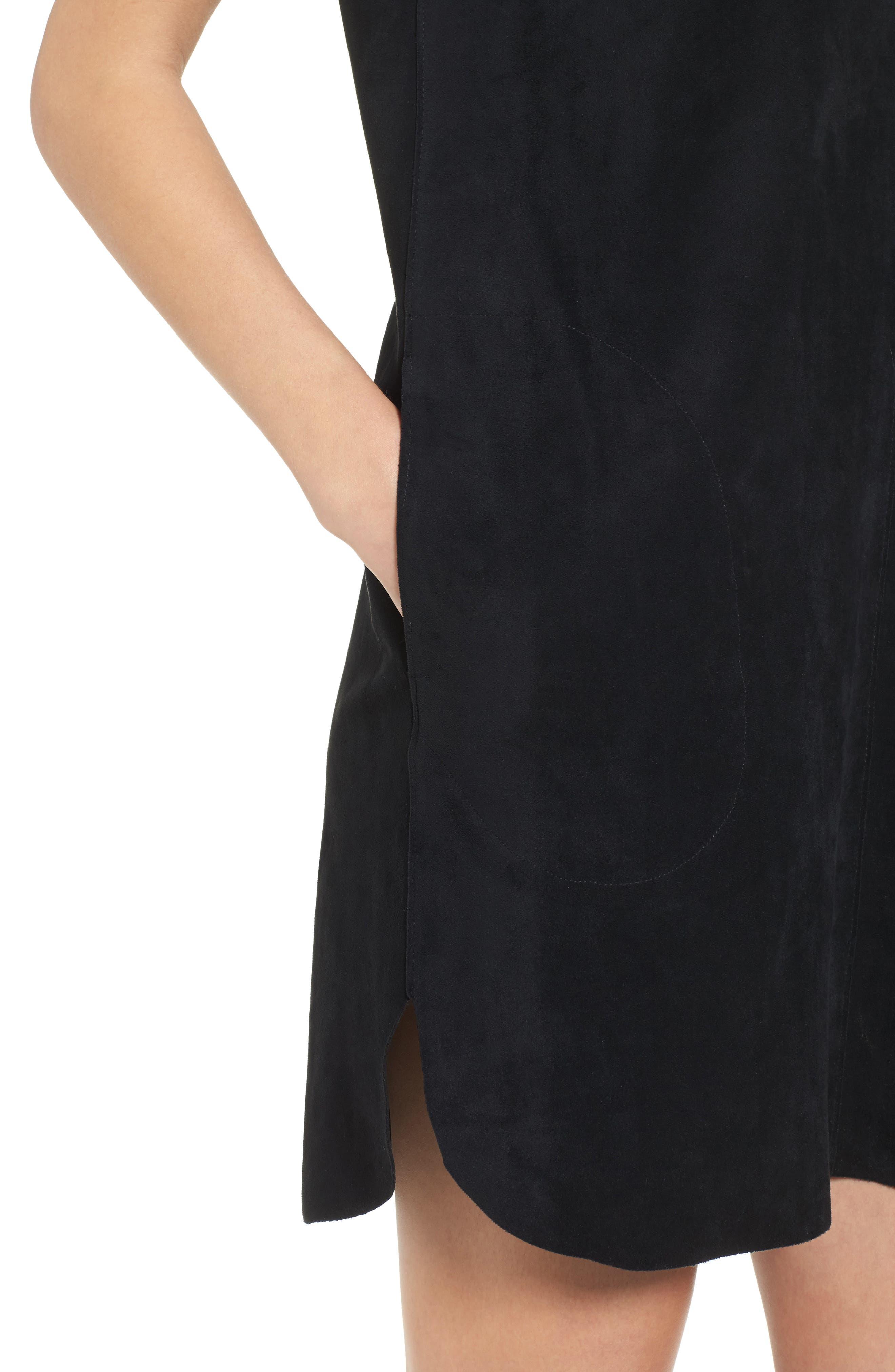 VELVET BY GRAHAM & SPENCER,                             Faux Suede Dress,                             Alternate thumbnail 4, color,                             001