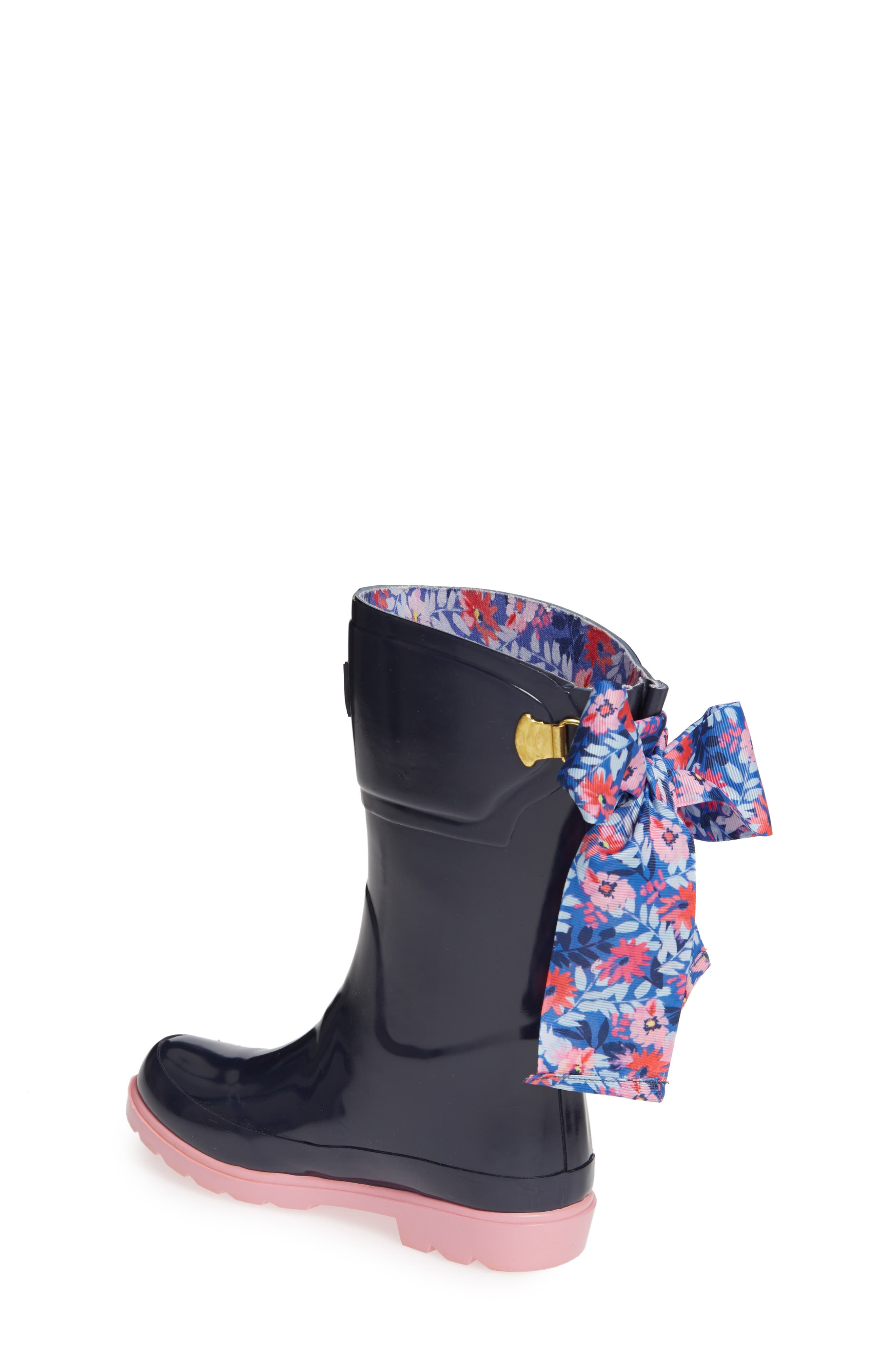 Bow Welly Waterproof Rain Boot,                             Alternate thumbnail 2, color,                             FRENCH NAVY